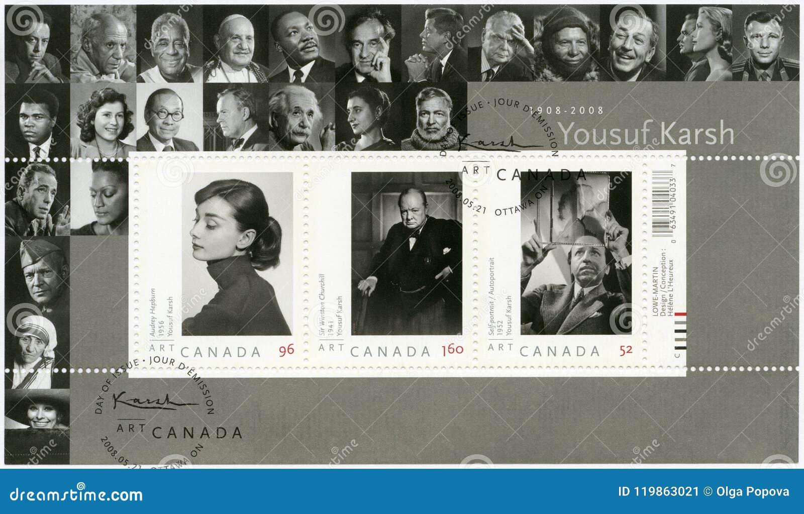 KANADA - 2008: przedstawienia Audrey Hepburn 1929-1993, Sir Winston Churchill i autoportret Yousuf Karsh 1908-2002, 1874-1965,