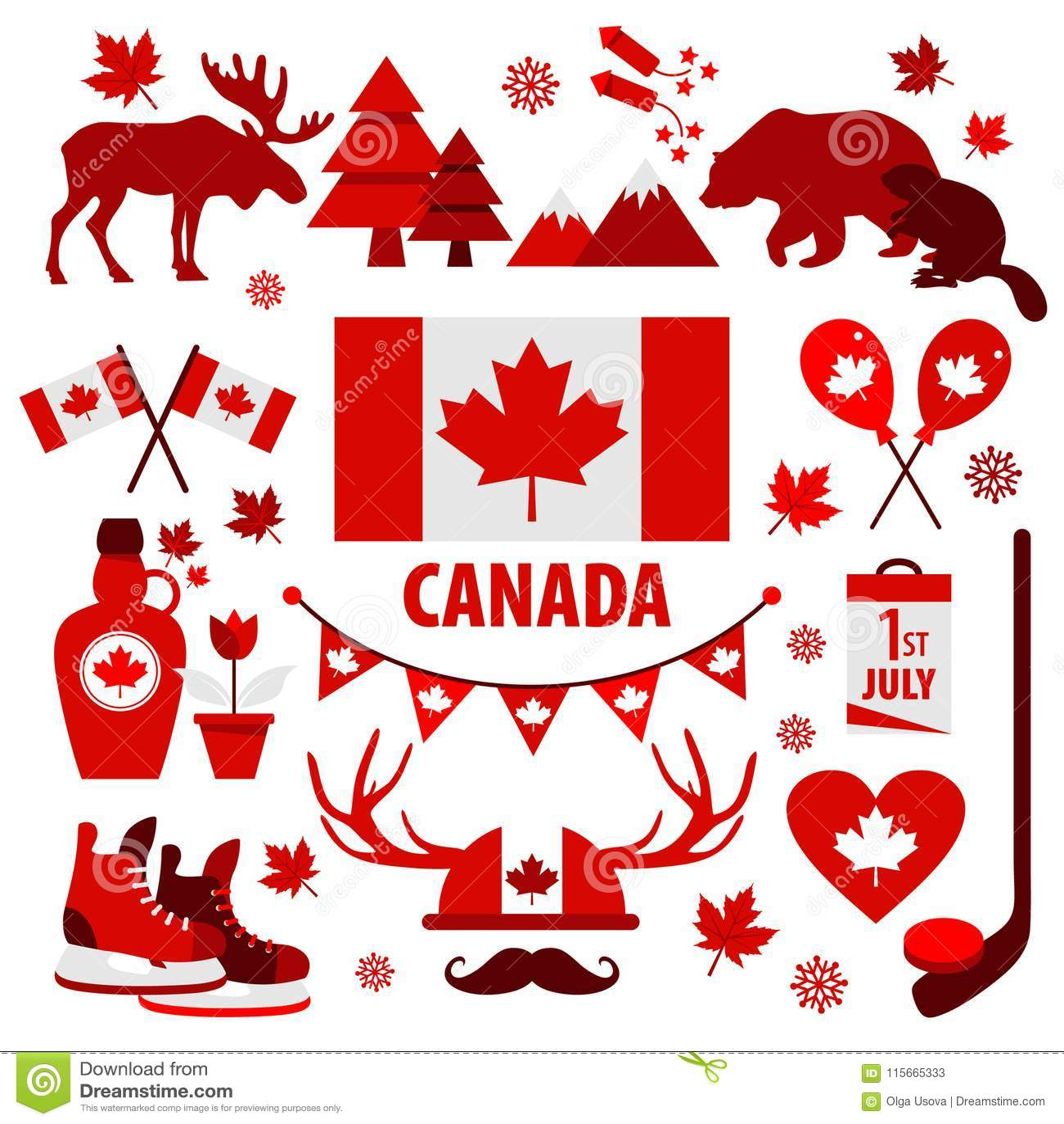 Kanada znak i symbol, grafika elementów płaskie ikony ustawiać