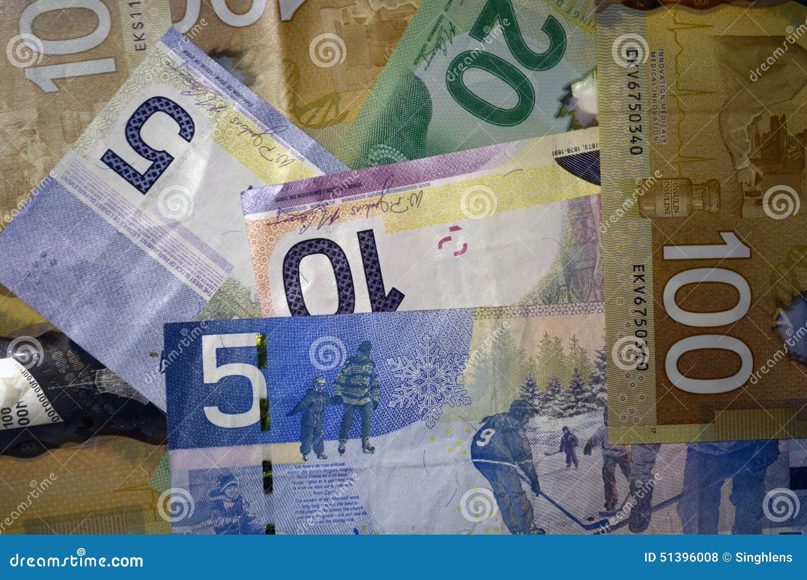 Kanadensiska valutadollar av valör 5, 10, 20 och 100