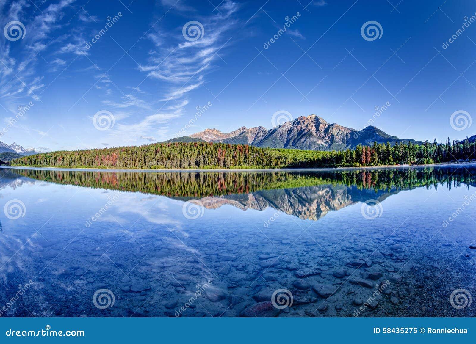 Kanadensiskt landskap: Patricia Lake på Jasper National Park