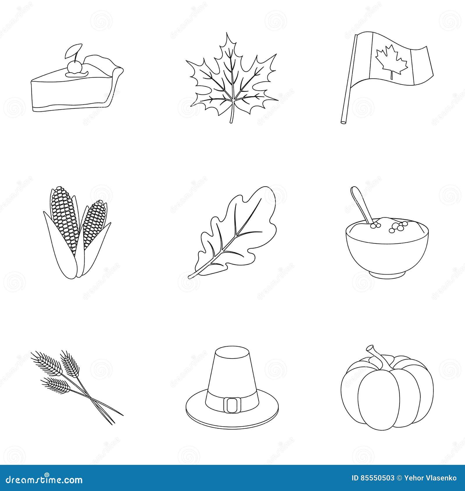 Kanadischer Danksagungs-Tagesgesetzte Ikonen in der Entwurfsart Große Sammlung des kanadischen Danksagungs-Tages