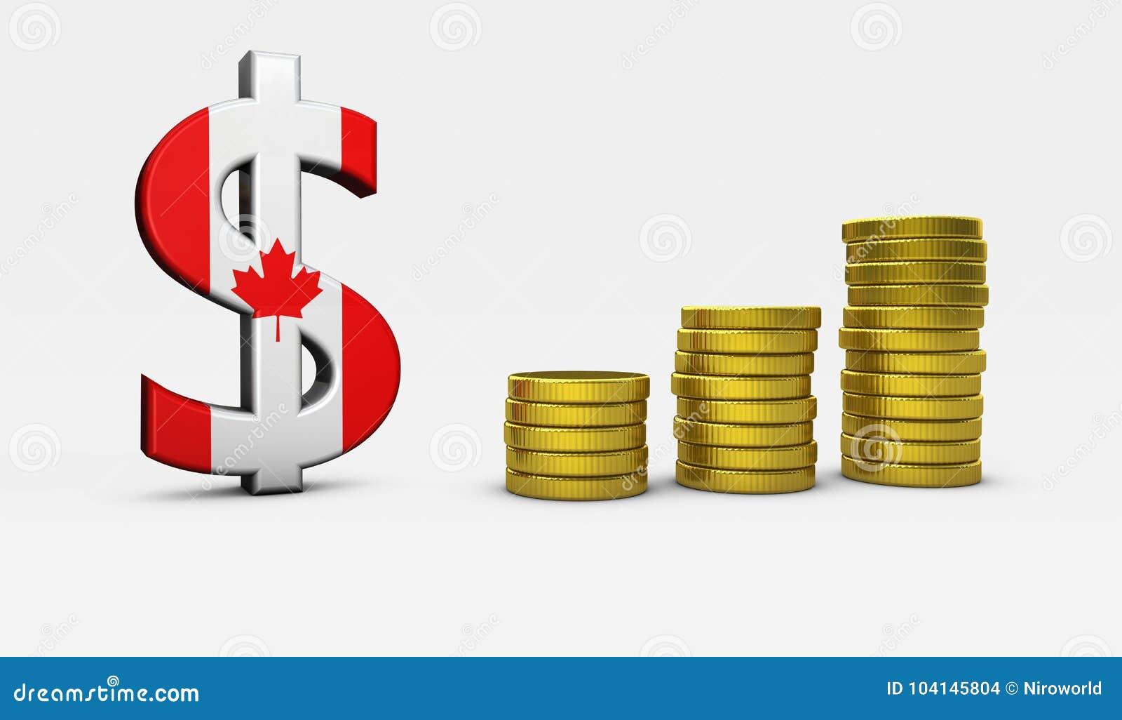 Kanadischer Dollar Zeichen Wirtschafts Konzept Stock Abbildung