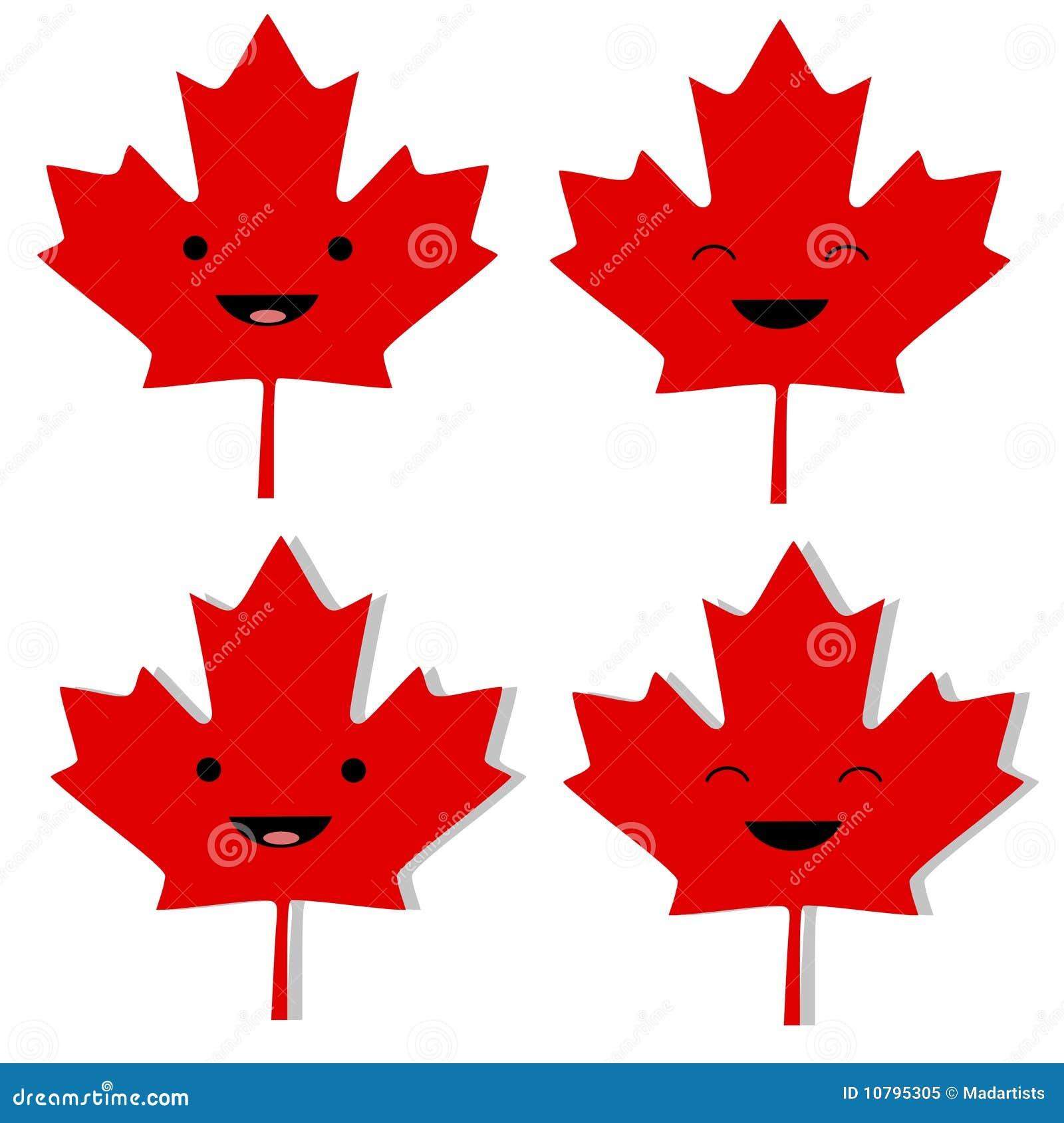 Kanadisches ahornblatt smilies stock abbildung - Foglia canadese contorno foglia canadese ...