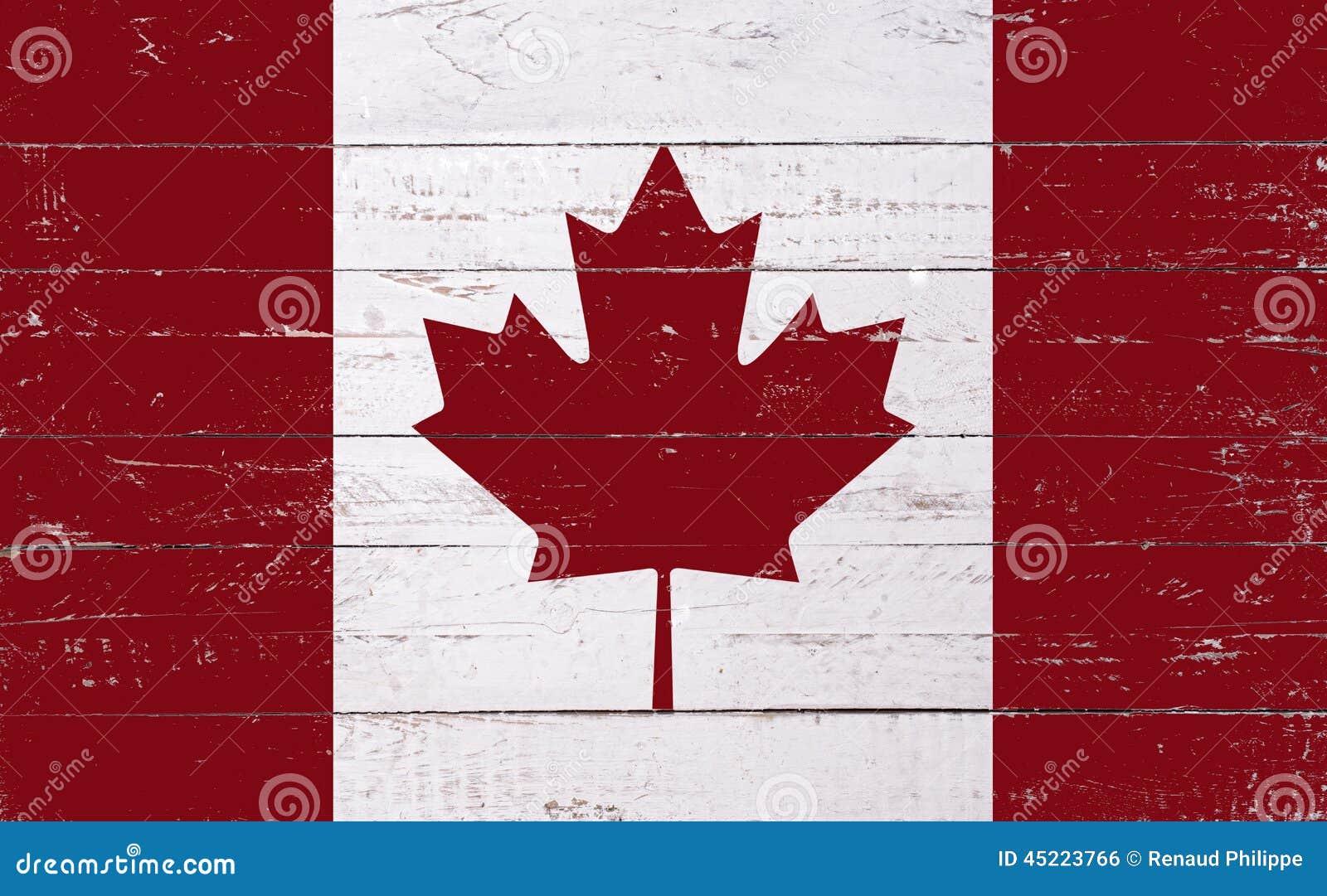 Kanadyjczyk flaga malująca na drewnianej desce