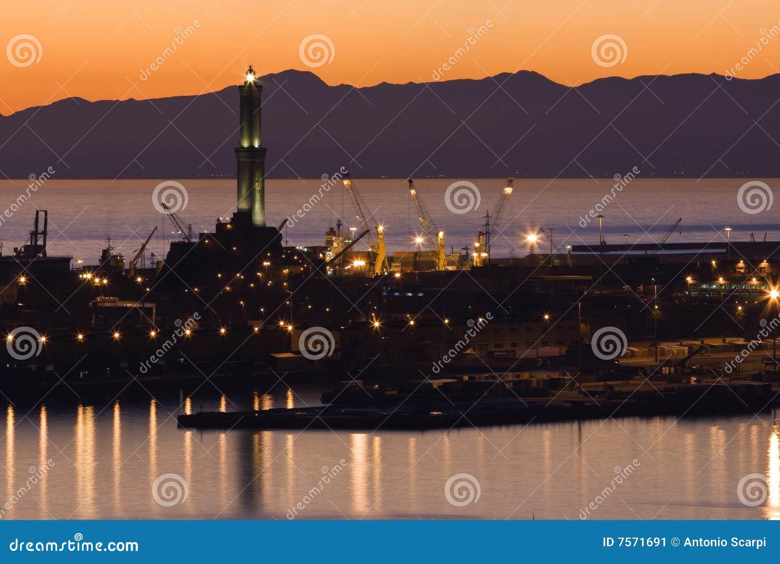 Kanal von Genua am Sonnenuntergang