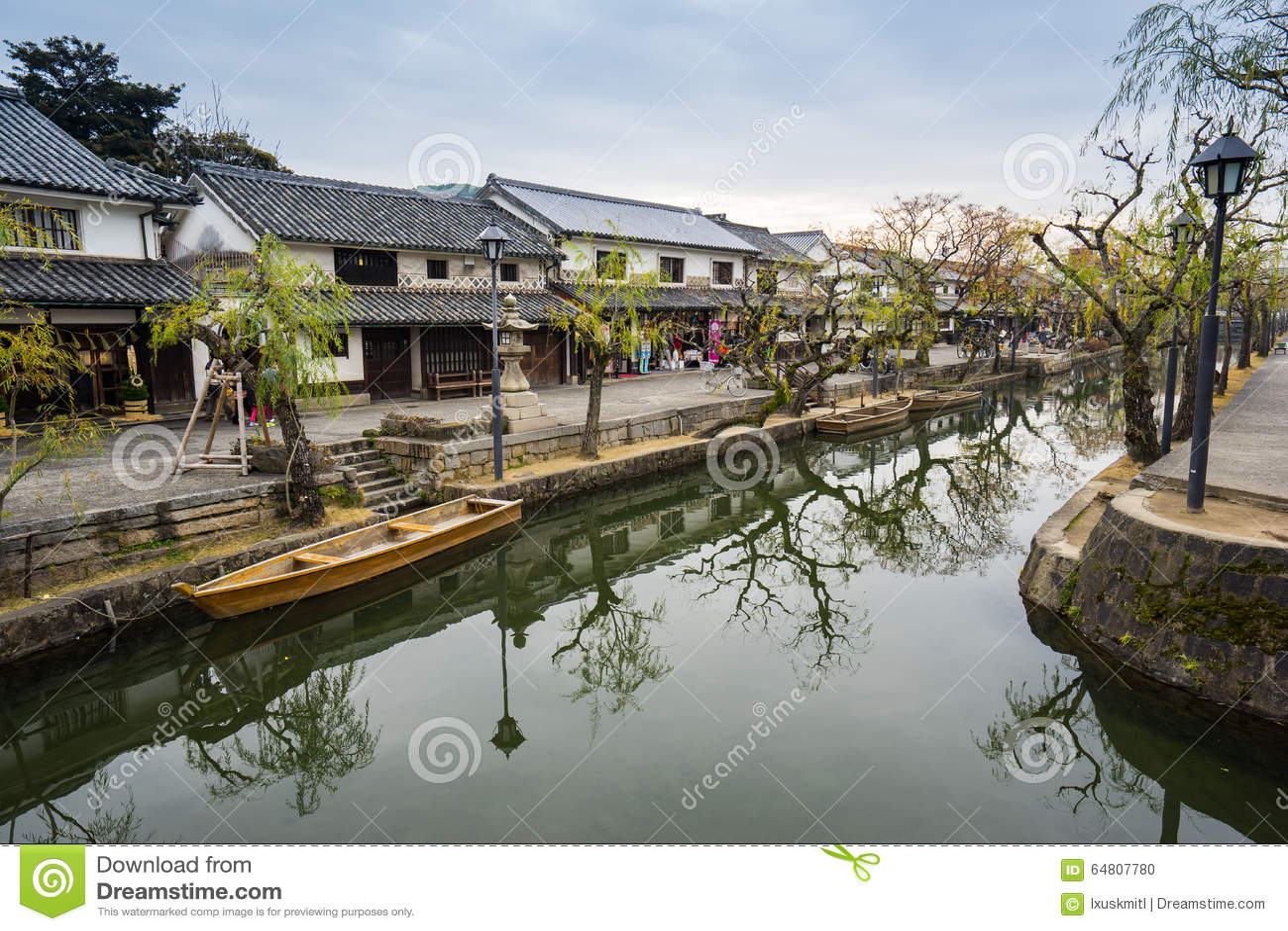 Kanal von Kurashiki die alte Stadt von Okayama