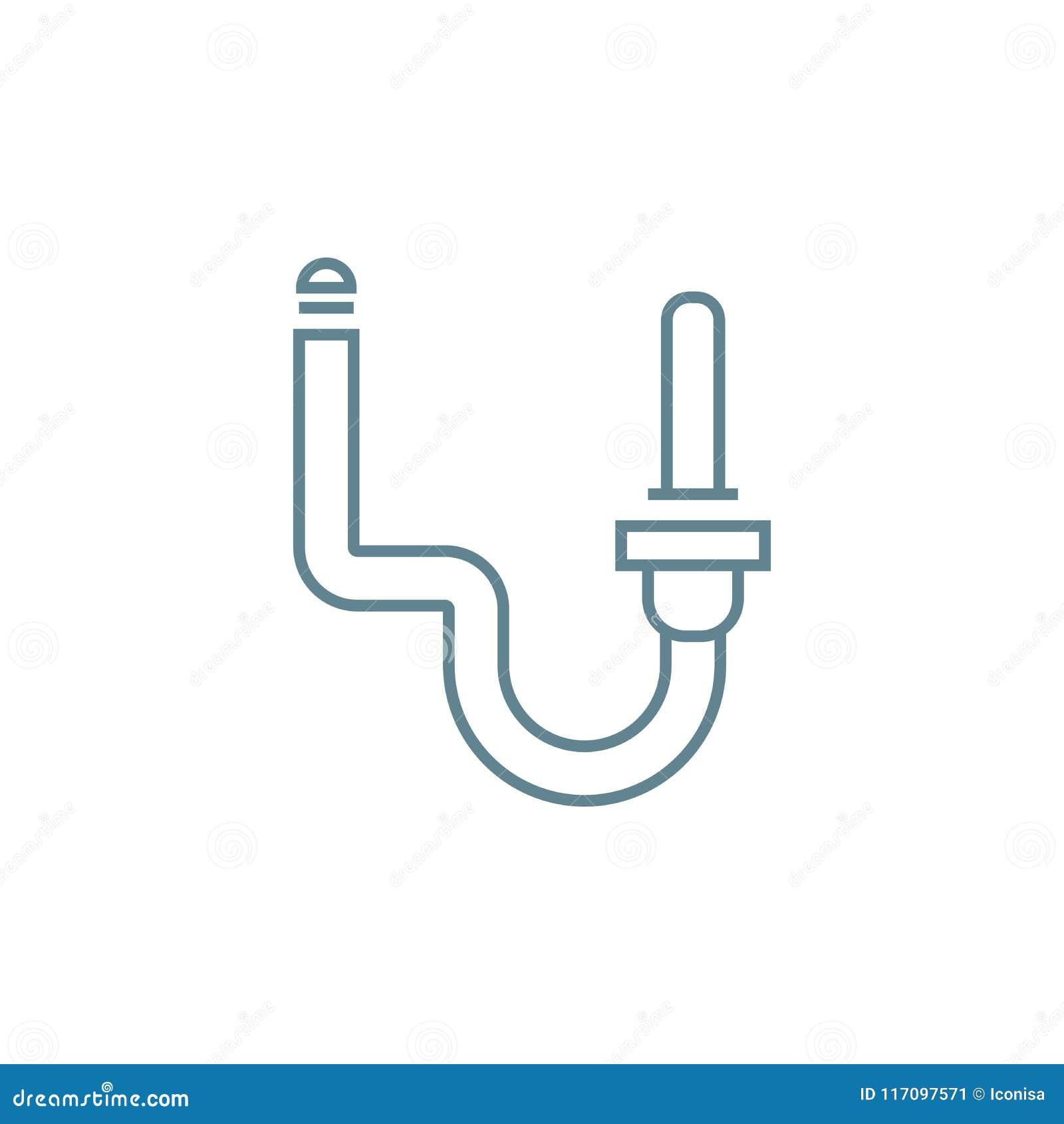 Kanalizacja systemu ikony liniowy pojęcie Kanalizacja systemu linii wektoru znak, symbol, ilustracja