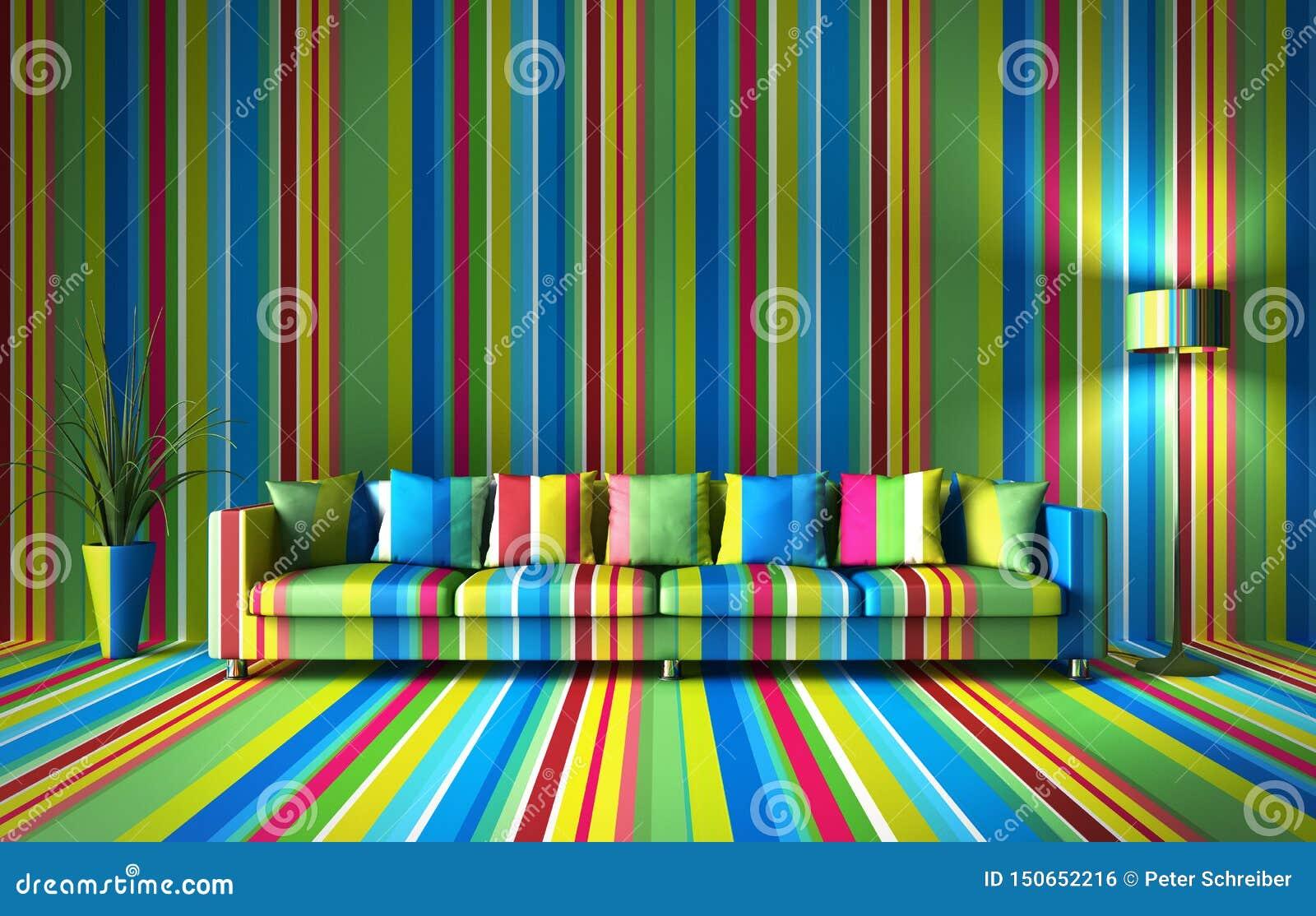 Kanapa przed kolorową ścianą