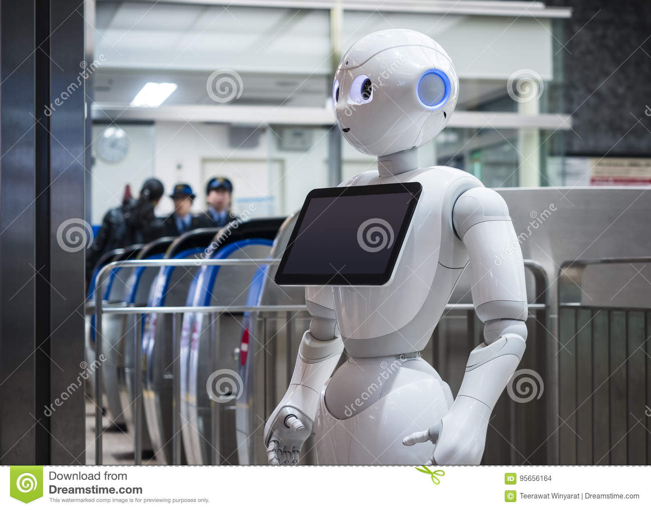 KANAZAWA, JAPAN - APR 11, 2017 : Pepper Robot Assistant with Inf