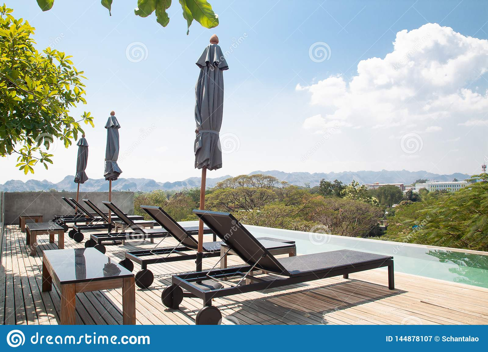 Kanchanaburi Thailand February 20 2019 Modern And Simply Design Chaise Lounge And Swimming Pool On The Hotel Roof Top With Editorial Photography Image Of Lounge Refresh 144878107