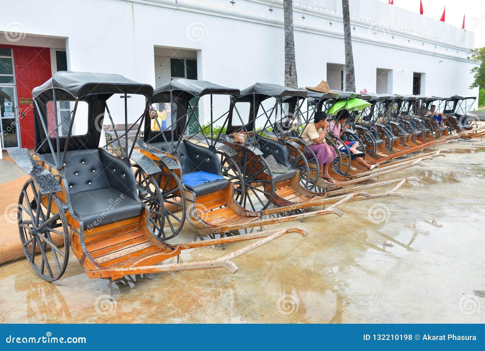 Kanchanaburi - Thailand - Oct 5, 2018: Row of Rickshaw in Mallika ใ