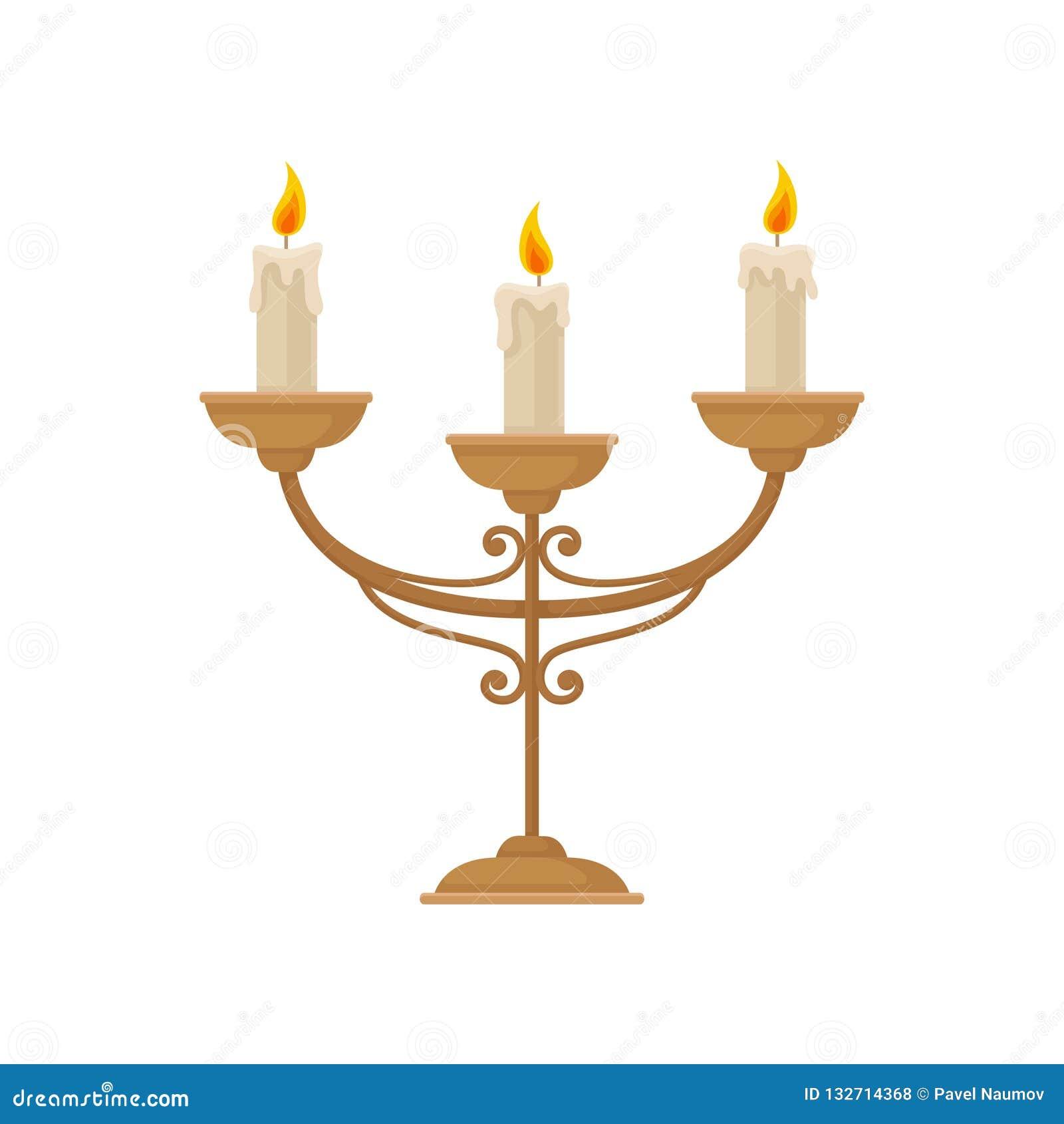 Kandelaber med tre brinnande stearinljus, illustration för tappningljusstakevektor på en vit bakgrund
