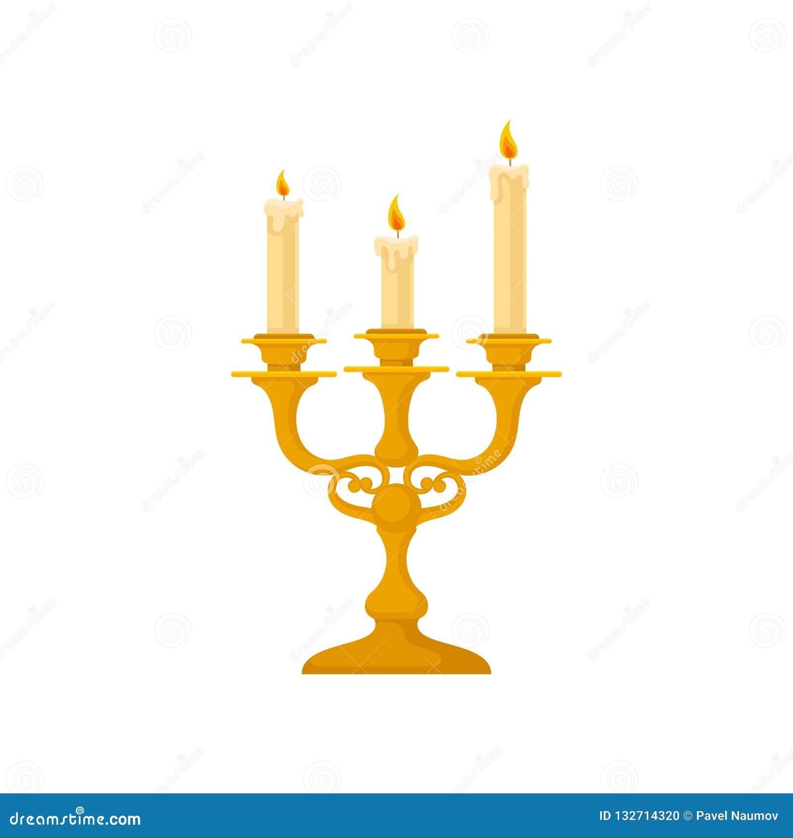 Kandelaber med tre stearinljus, för ljusstakevektor för tappning guld- illustration på en vit bakgrund