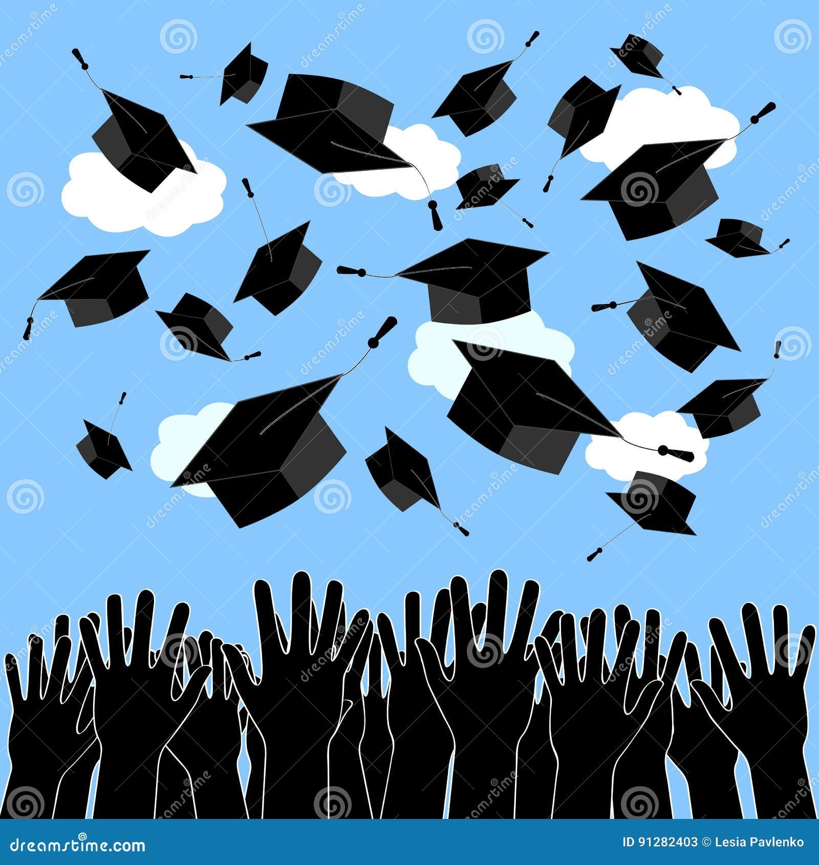 Kandidathänder som upp kastar avläggande av examenhattar Bakgrund för avläggande av examenceremoni