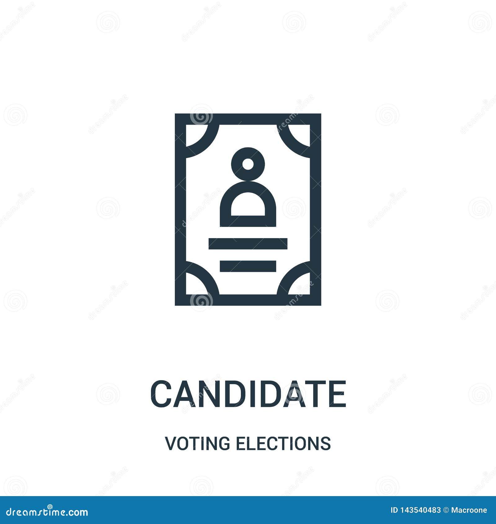 Kandydat ikony wektor od głosować wybory inkasowych Cienka kreskowa kandydata konturu ikony wektoru ilustracja