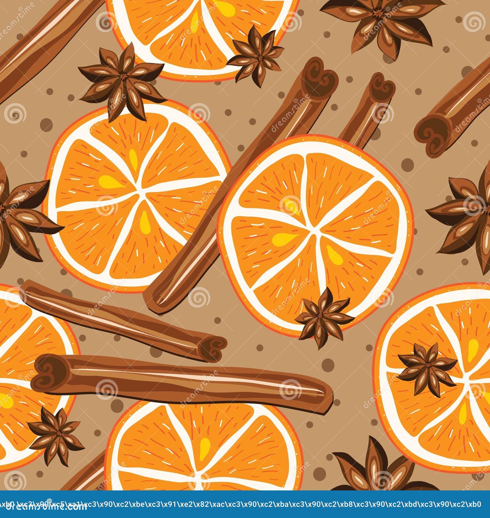 Download Kanel Och Apelsiner, Vektor, Kökbakgrund Vektor Illustrationer - Illustration av kanel, muttrar: 43206994