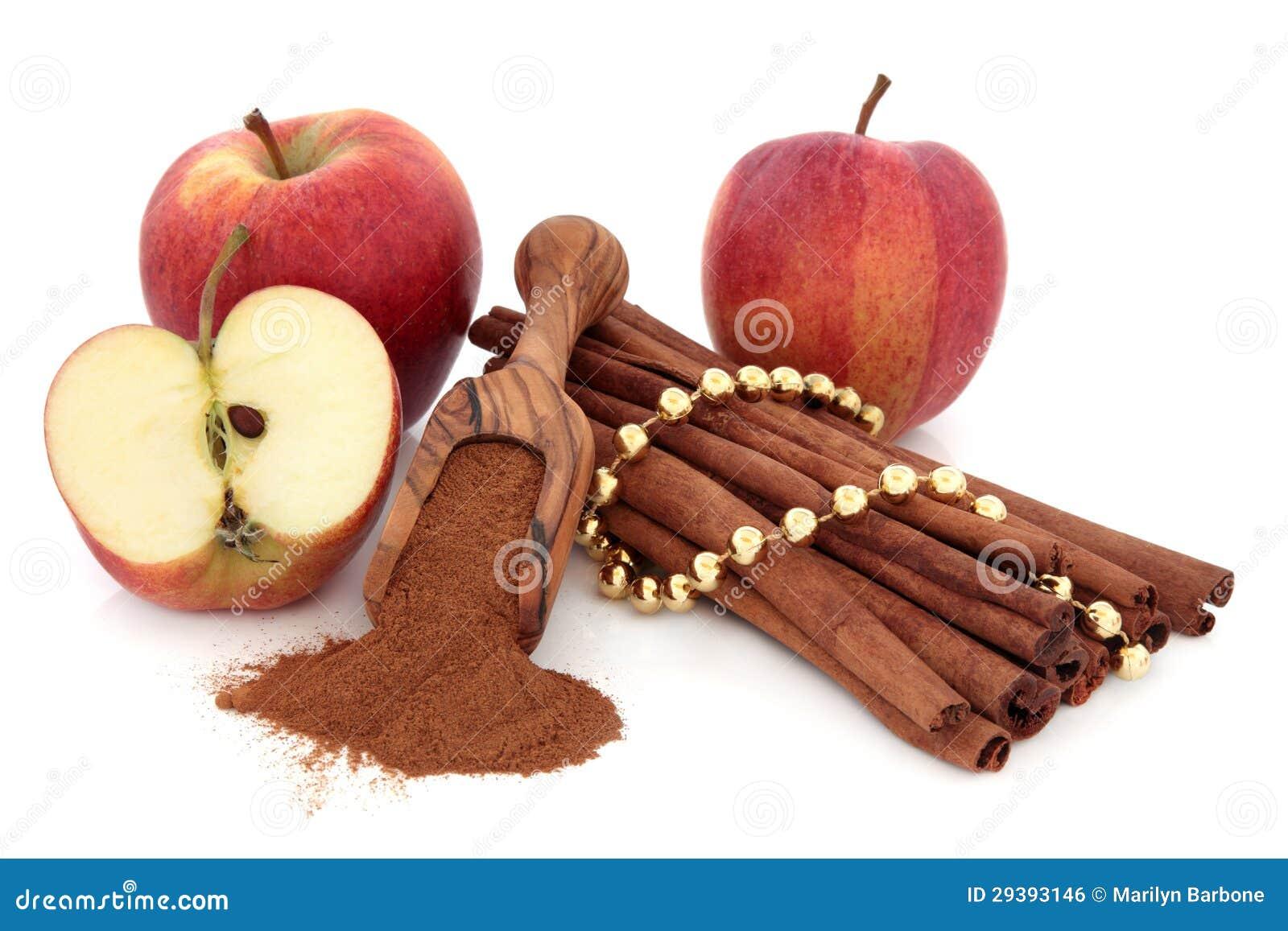 Kanelbrun krydda och äpplen