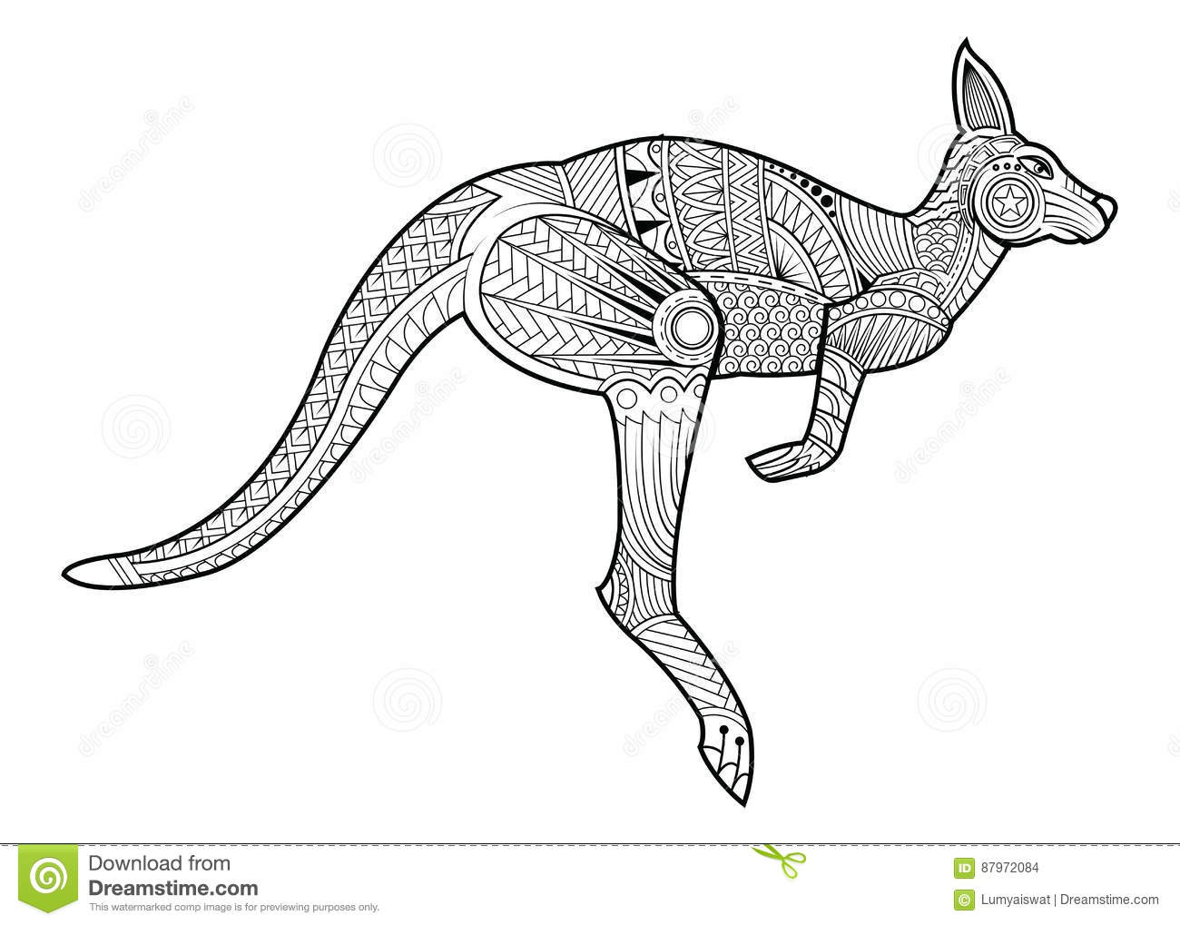 Zentangle Stylized Kangaroo Vector