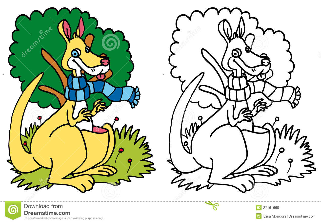 Kangaroo With A Blue Scarf COLOR And BW Stock Illustration ...