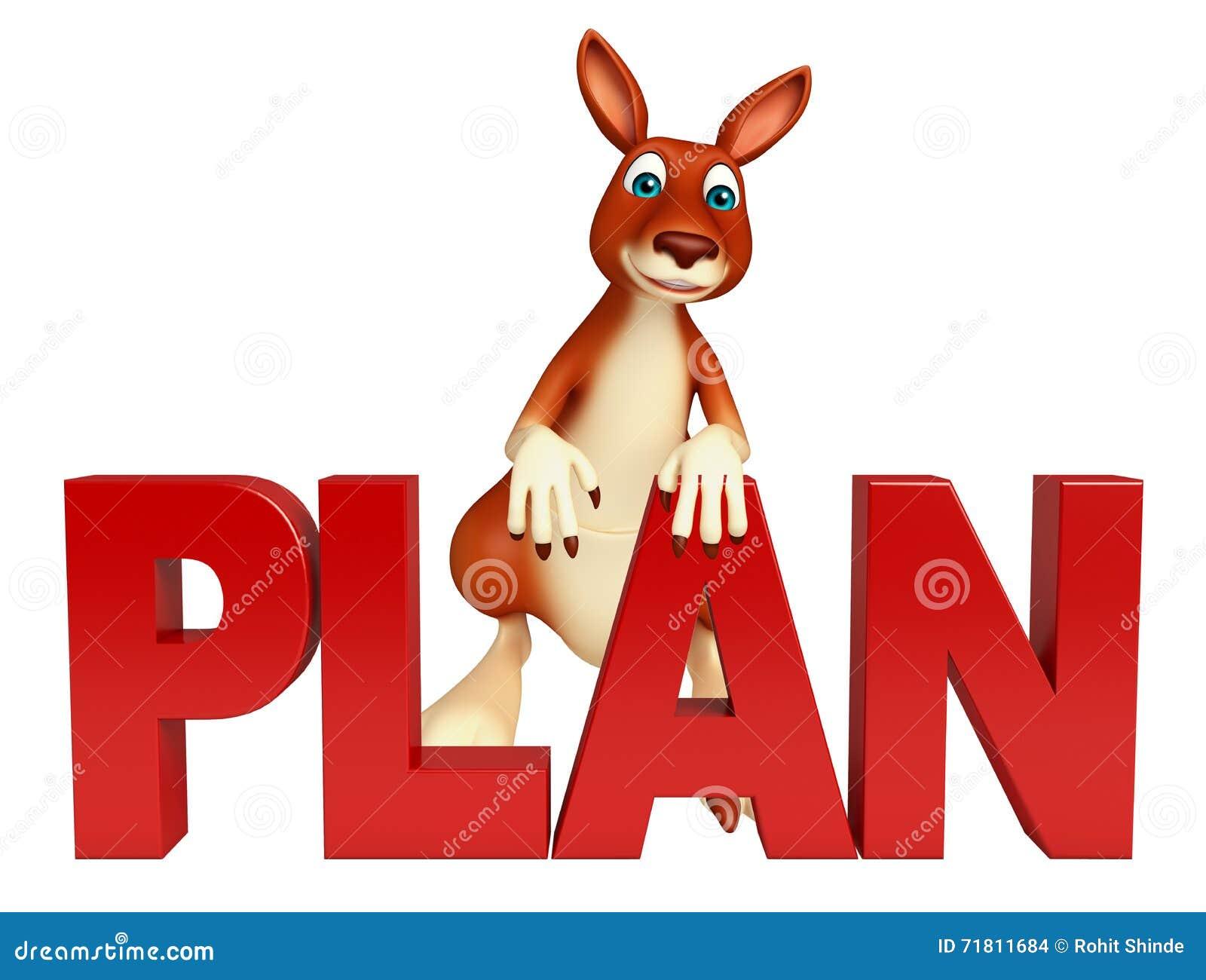 Kangaroo Cartoon Character With Plan Sign Stock
