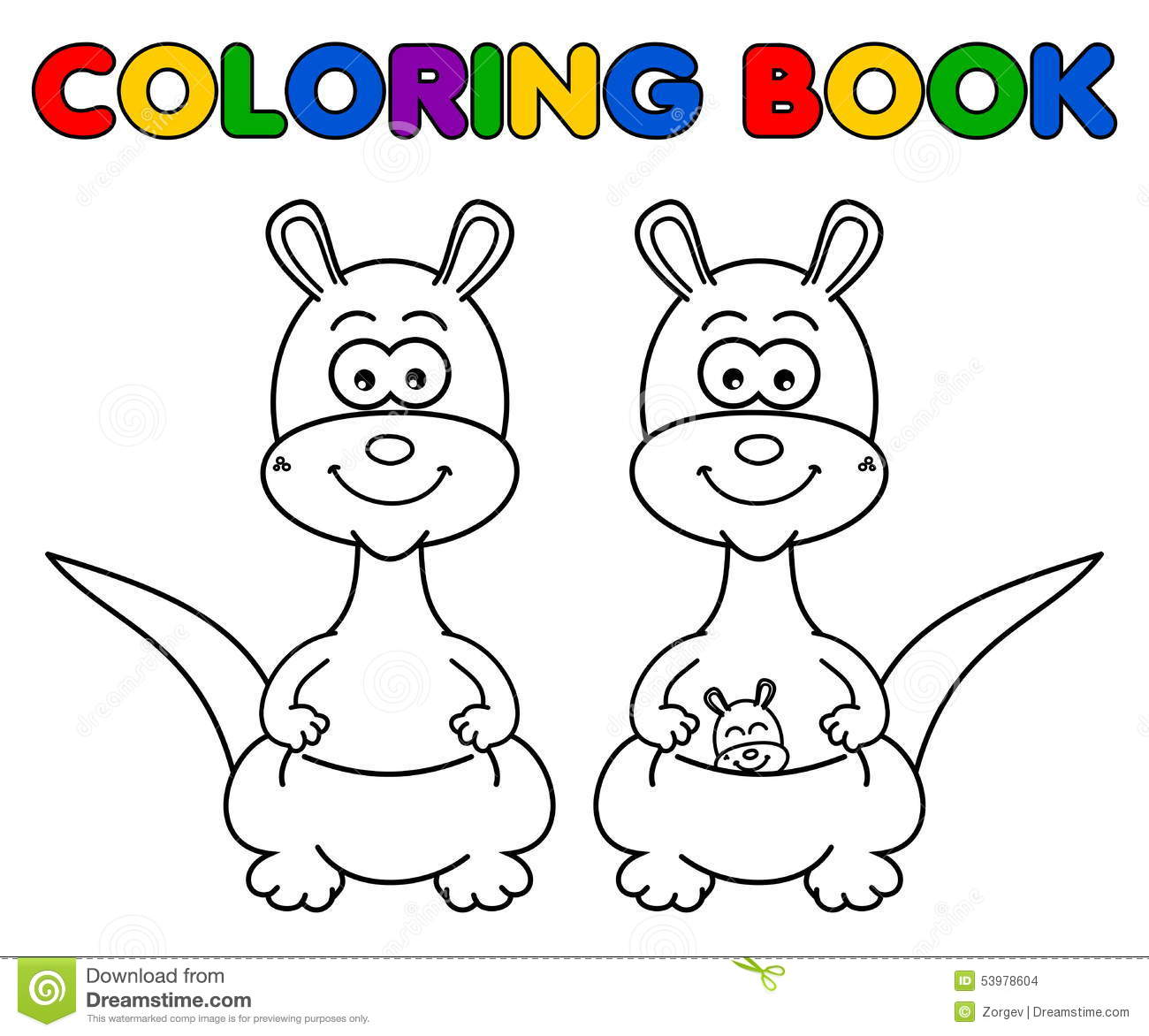 kangaroo for coloring stock vector image 53978604