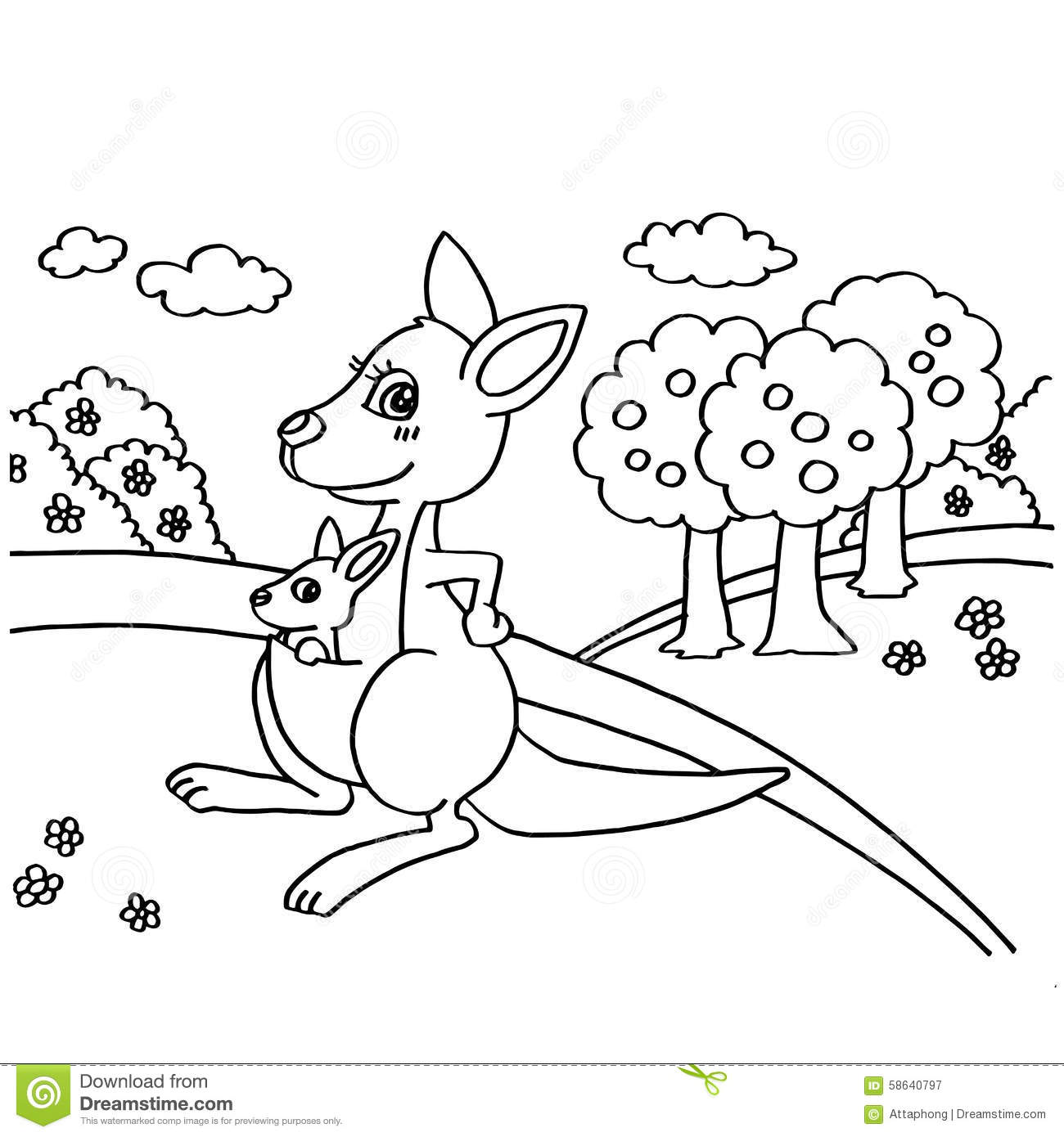 Kangaroo Coloring Pages Vector Stock Vector Illustration Of Summer