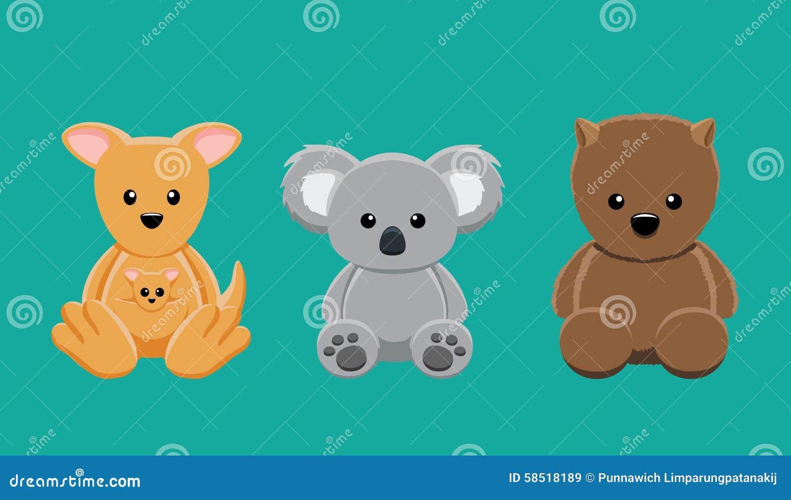 Good Wallpaper Koala Cartoon - kangaroo-koala-wombat-doll-set-cartoon-vector-illustration-cute-animal-dolls-collection-eps-file-format-58518189  Gallery_30516   .jpg