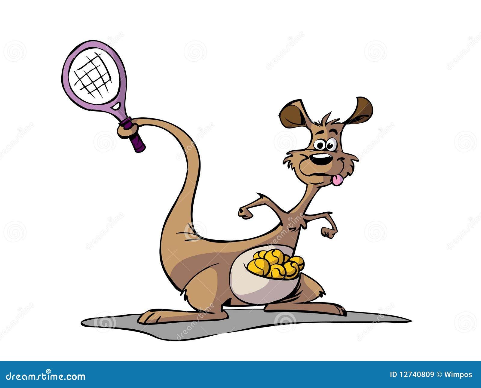 Kangaroo Playing Tennis Stock Illustration Illustration Of Racket