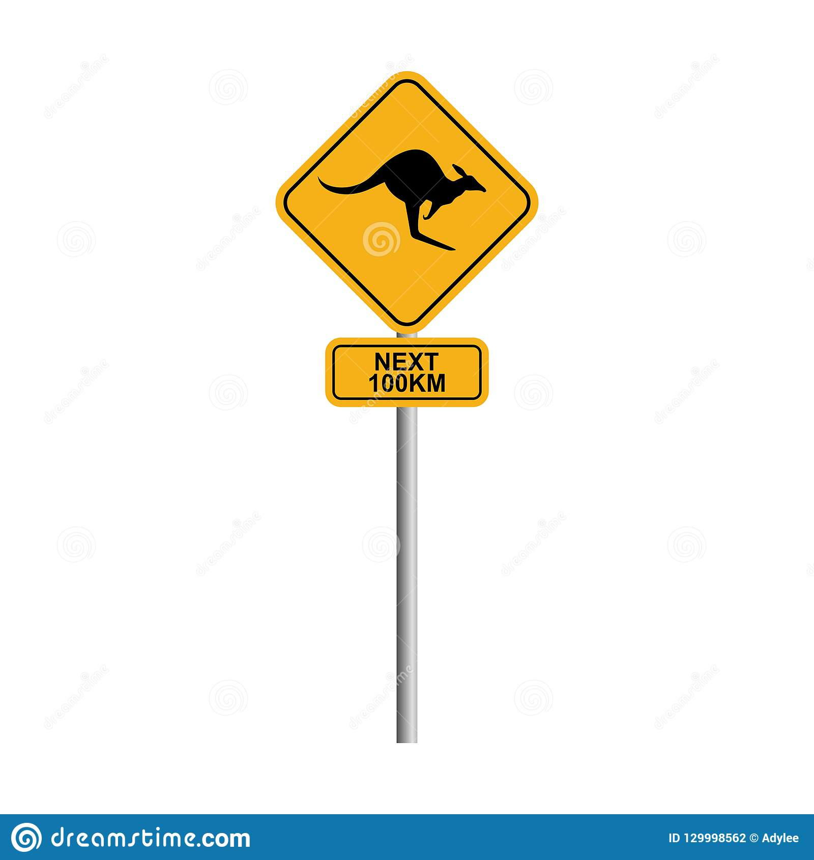Kangaroo road sign with blue sky and cloud background 2