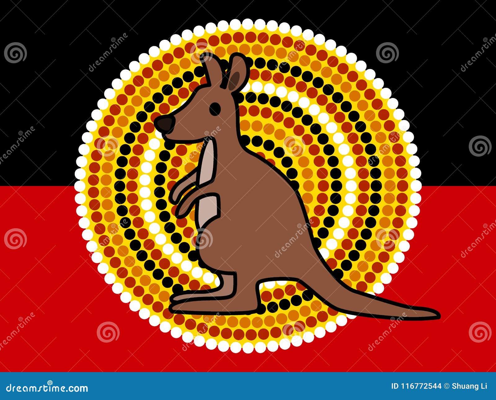 Kangourou mignon et drapeau indigène australien