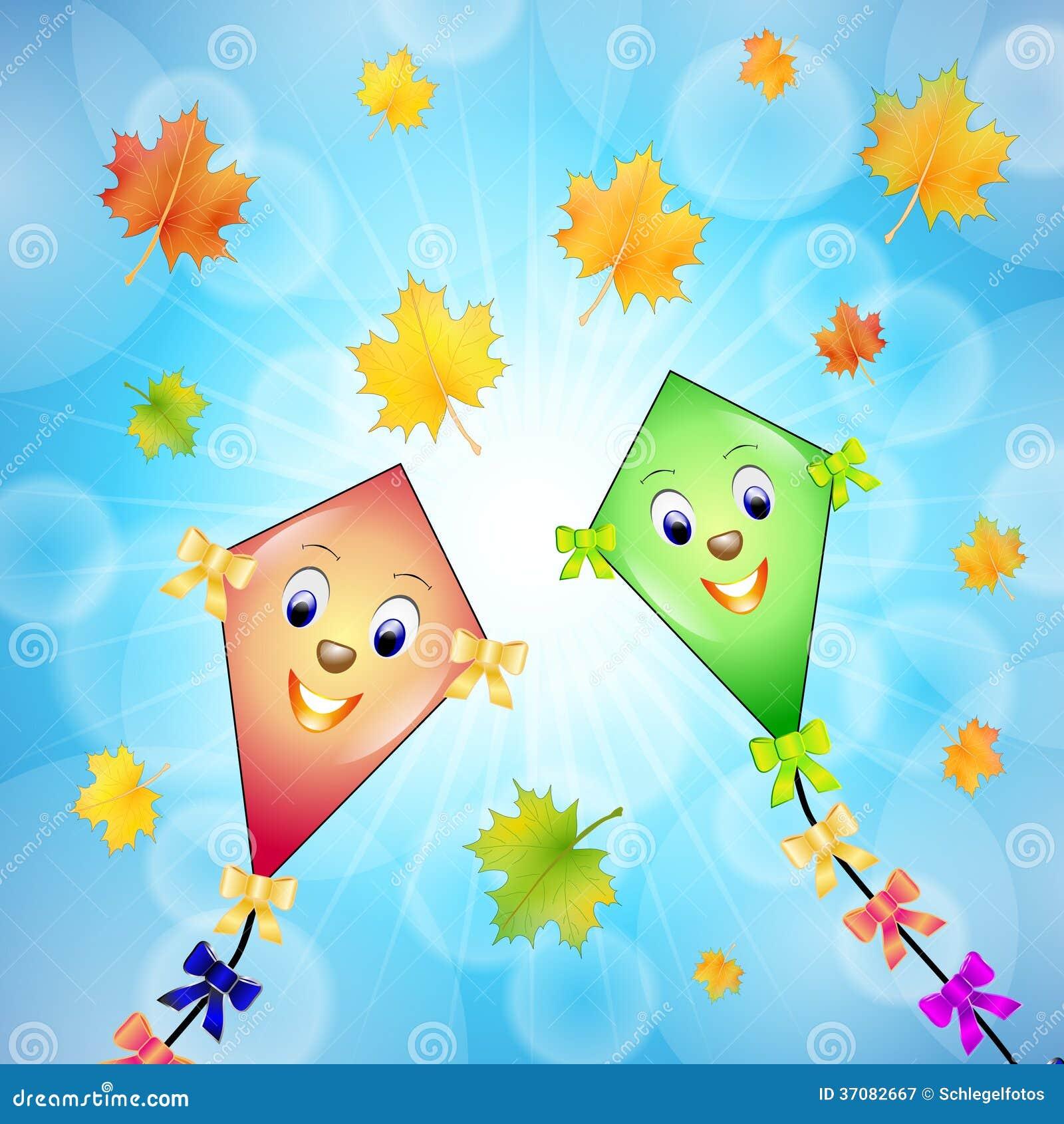 Download Kania w jesieni na niebie ilustracji. Ilustracja złożonej z kreskówka - 37082667