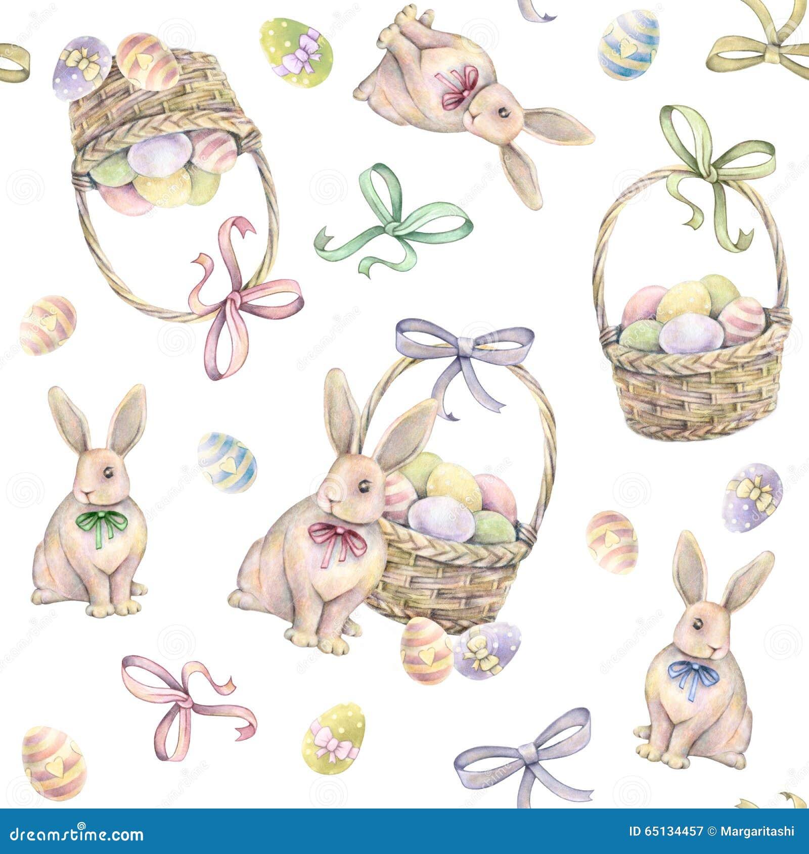 Kaninchen mit Ostern-Korb auf einem weißen Hintergrund Färben Sie Ostereier Blühende Bäume auf den Querneigungen des Wicklungflus