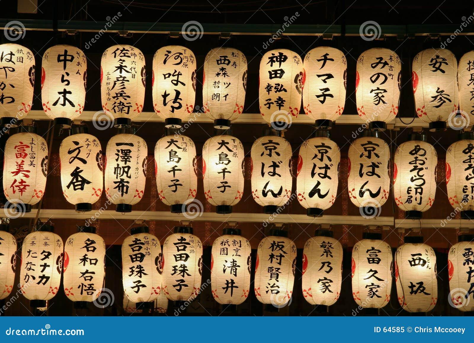 Kanji covered Japanese lanterns.