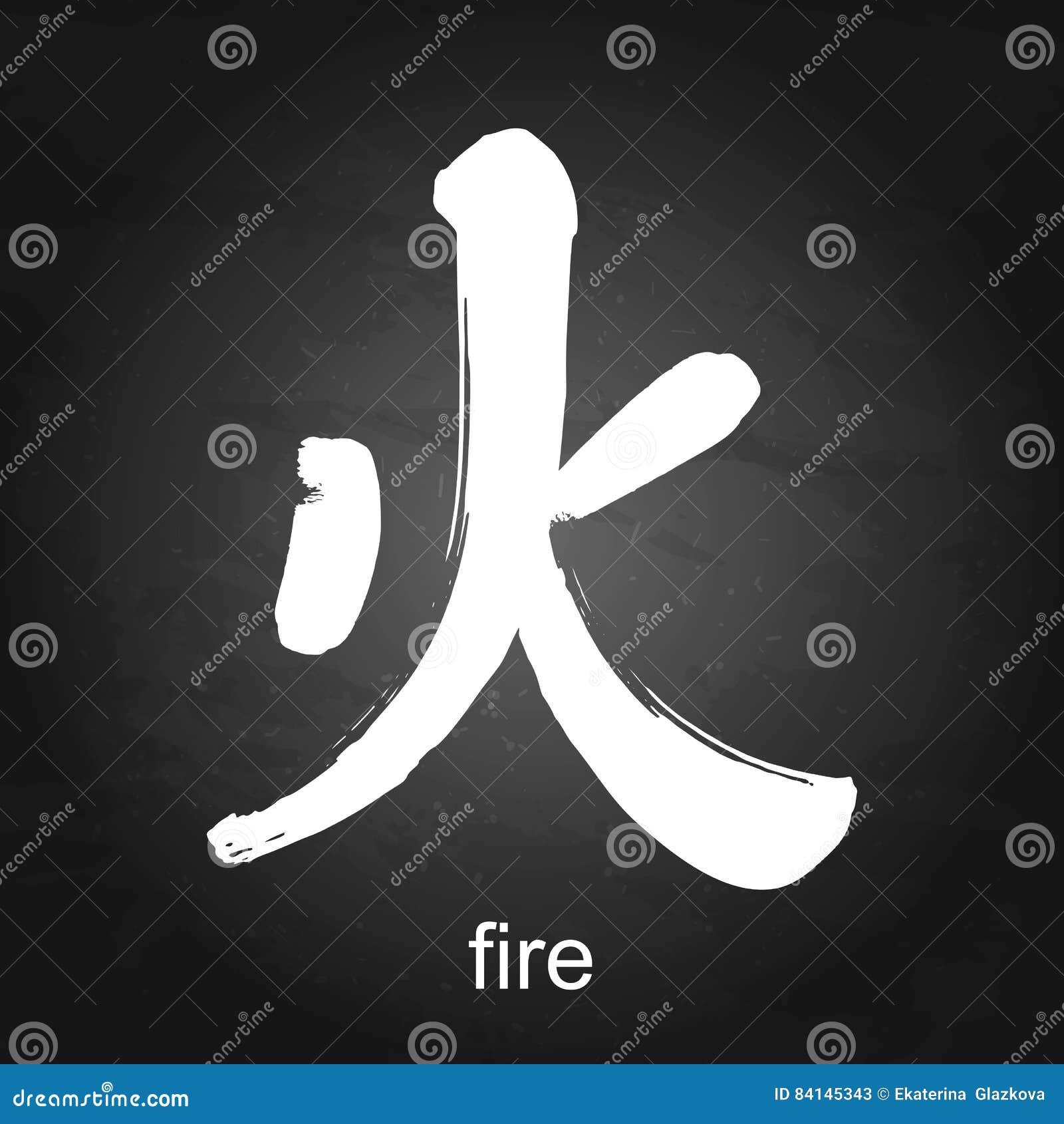 Kanji Hieroglyph Fire Stock Vector Illustration Of Alphabet 84145343