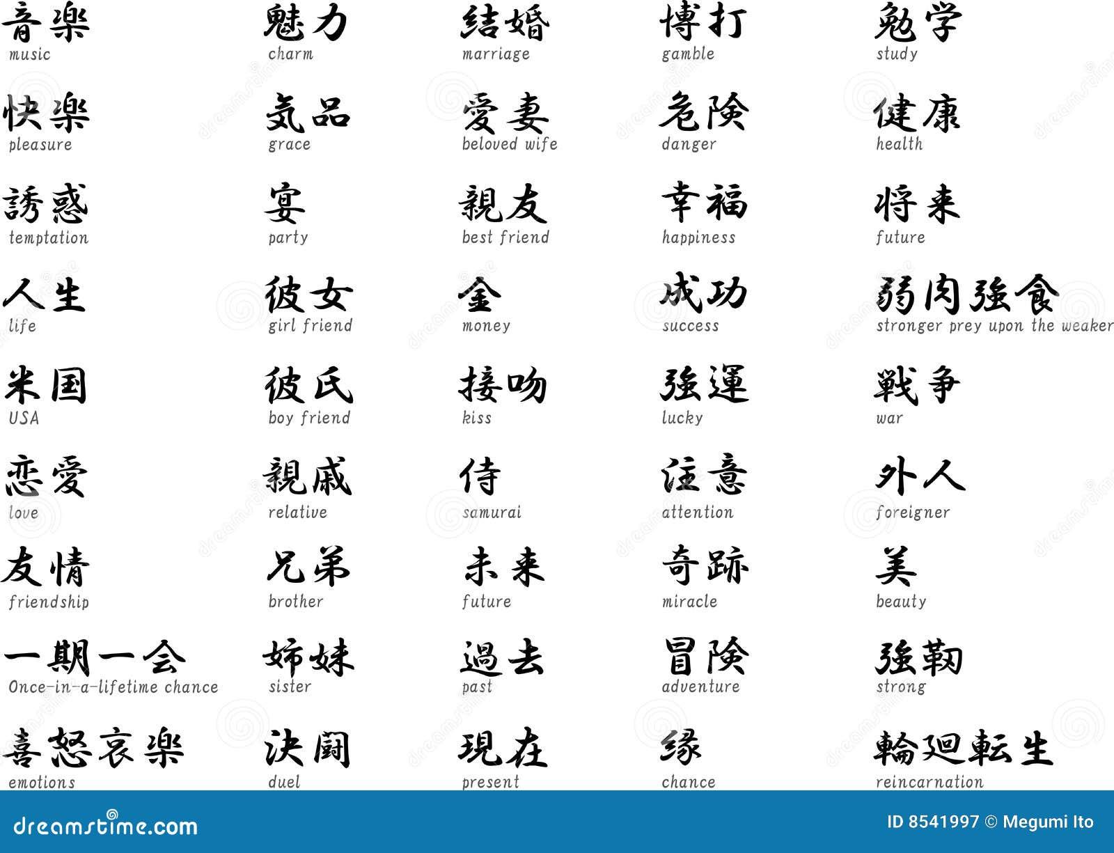 kanji japonais avec la signification illustration de. Black Bedroom Furniture Sets. Home Design Ideas