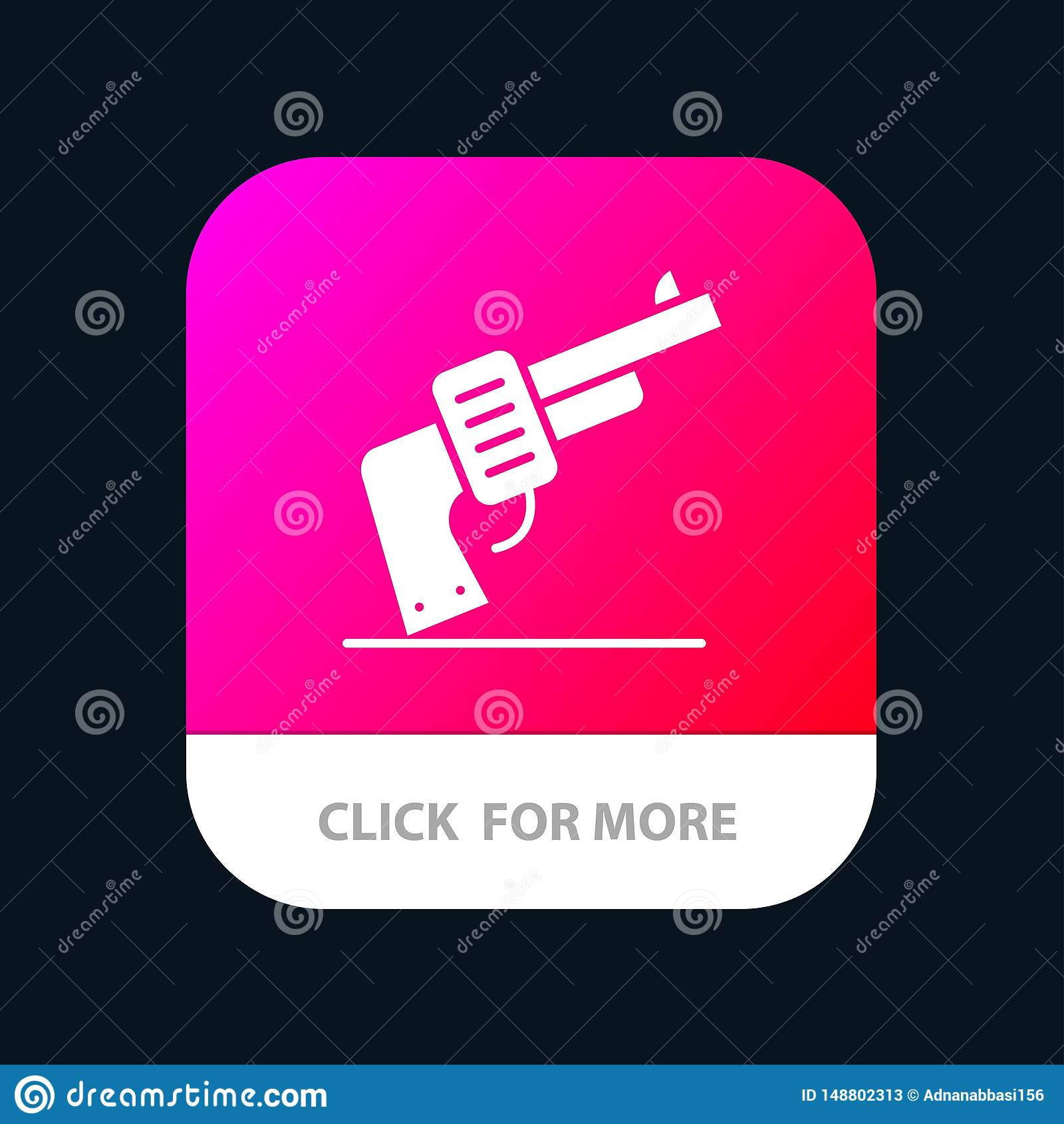 Kanon, Hand, Wapen, Amerikaanse Mobiele toepassingknoop Android en IOS Glyph Versie