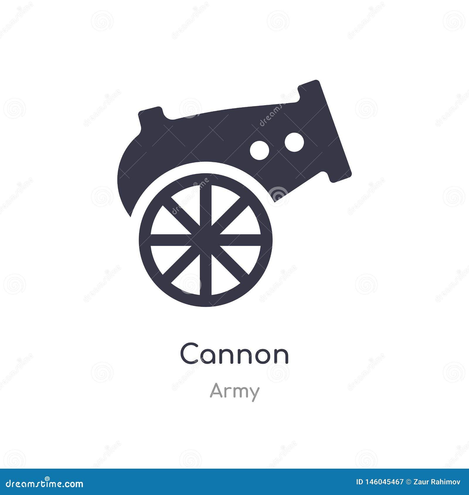 Kanonpictogram de geïsoleerde vectorillustratie van het kanonpictogram van legerinzameling editable zing symbool kan gebruik voor