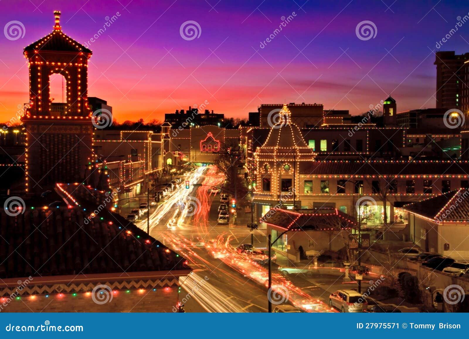 Kansas City Plaza Christmas Lights Skyline Stock Image - Image of ...