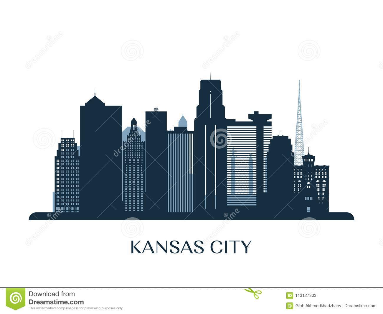 Kansas City Skyline Monochrome Silhouette Stock Vector