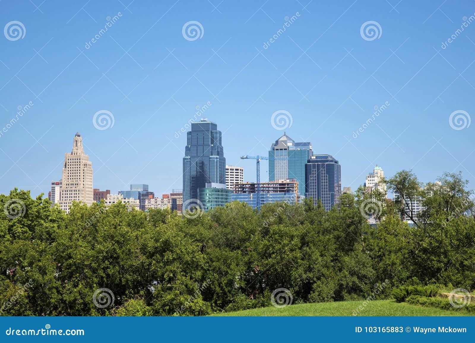 Kansas miasta Missouri usa śródmieścia linia horyzontu