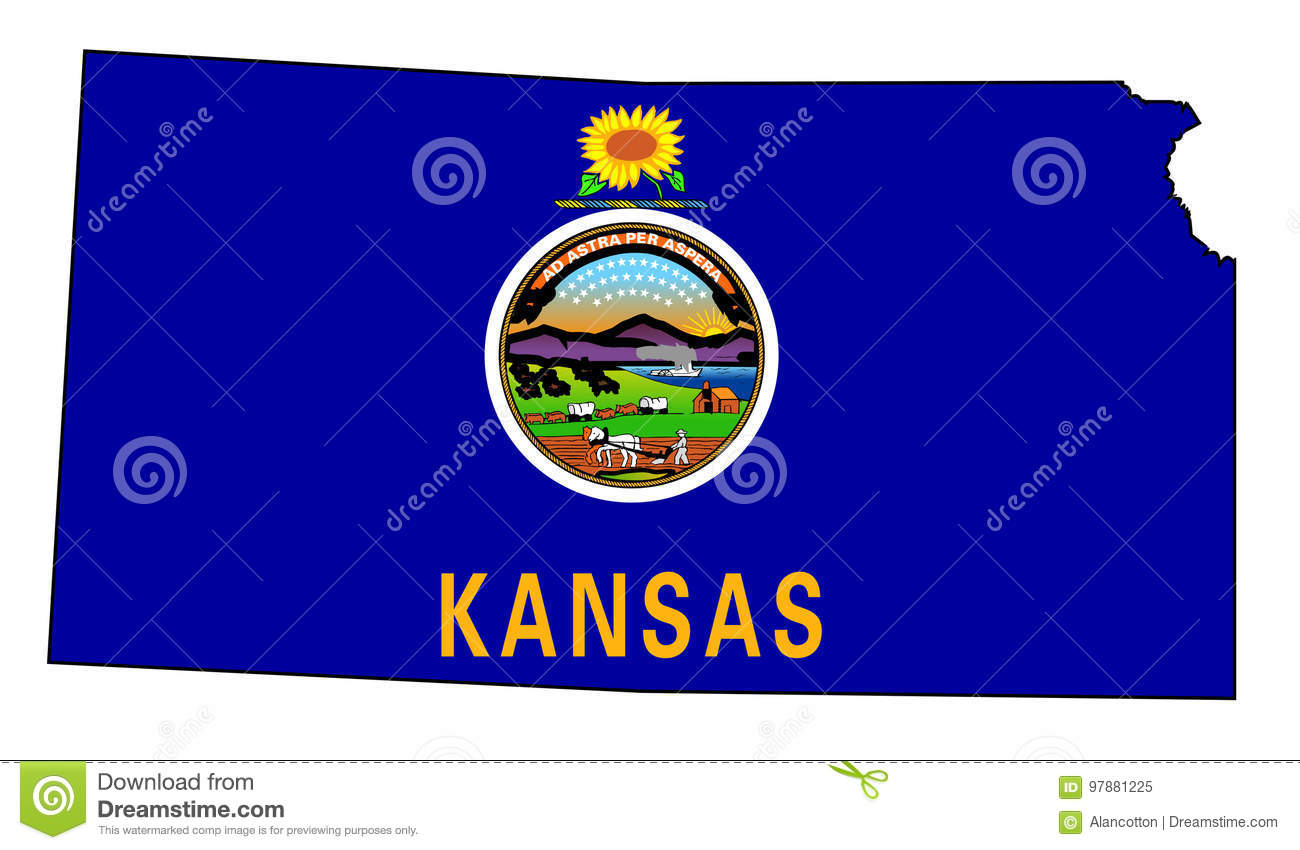 Kansas Outline Map And Flag Stock Vector Illustration Of American
