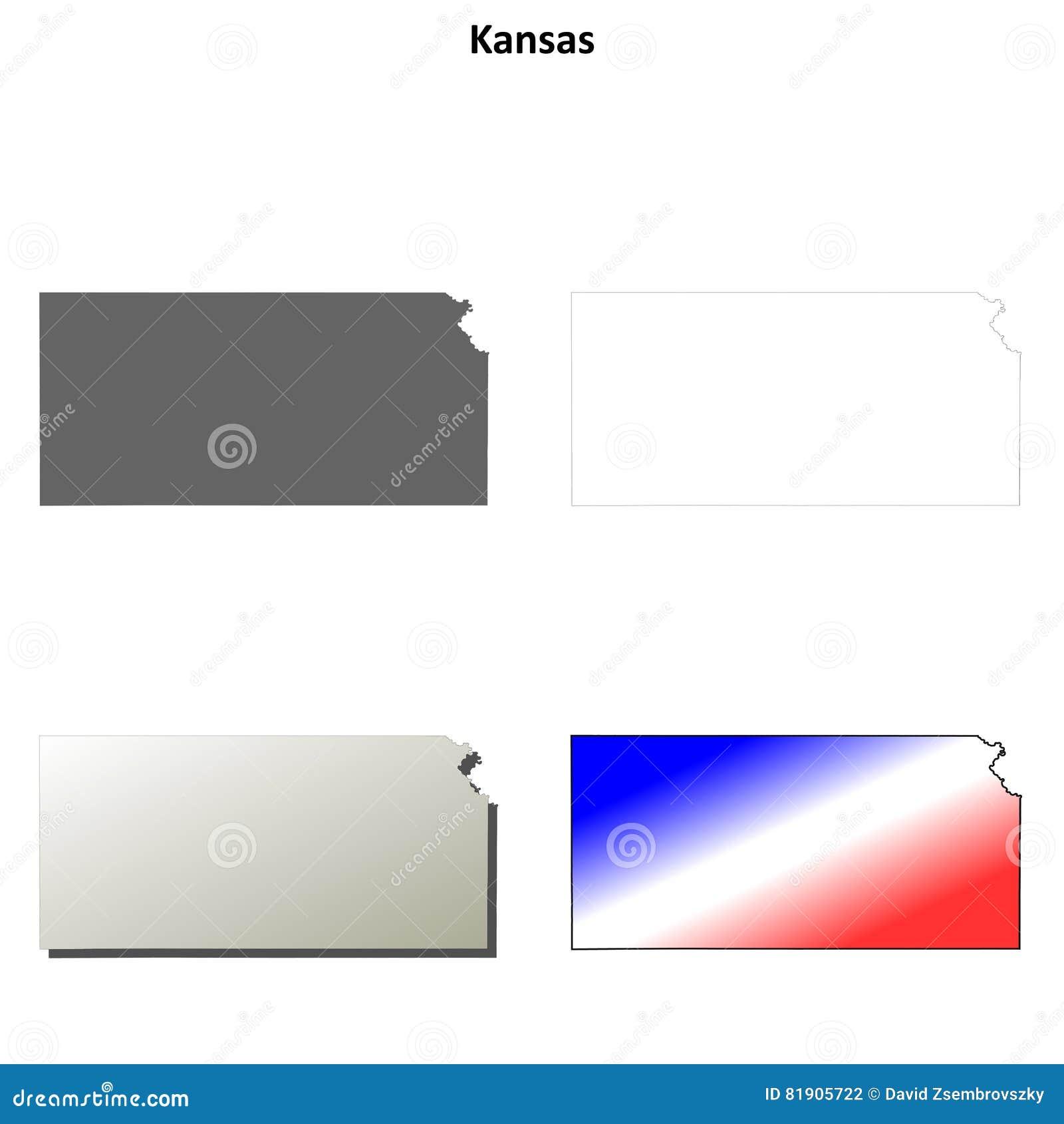 kansas outline map set stock vector illustration of state 81905722
