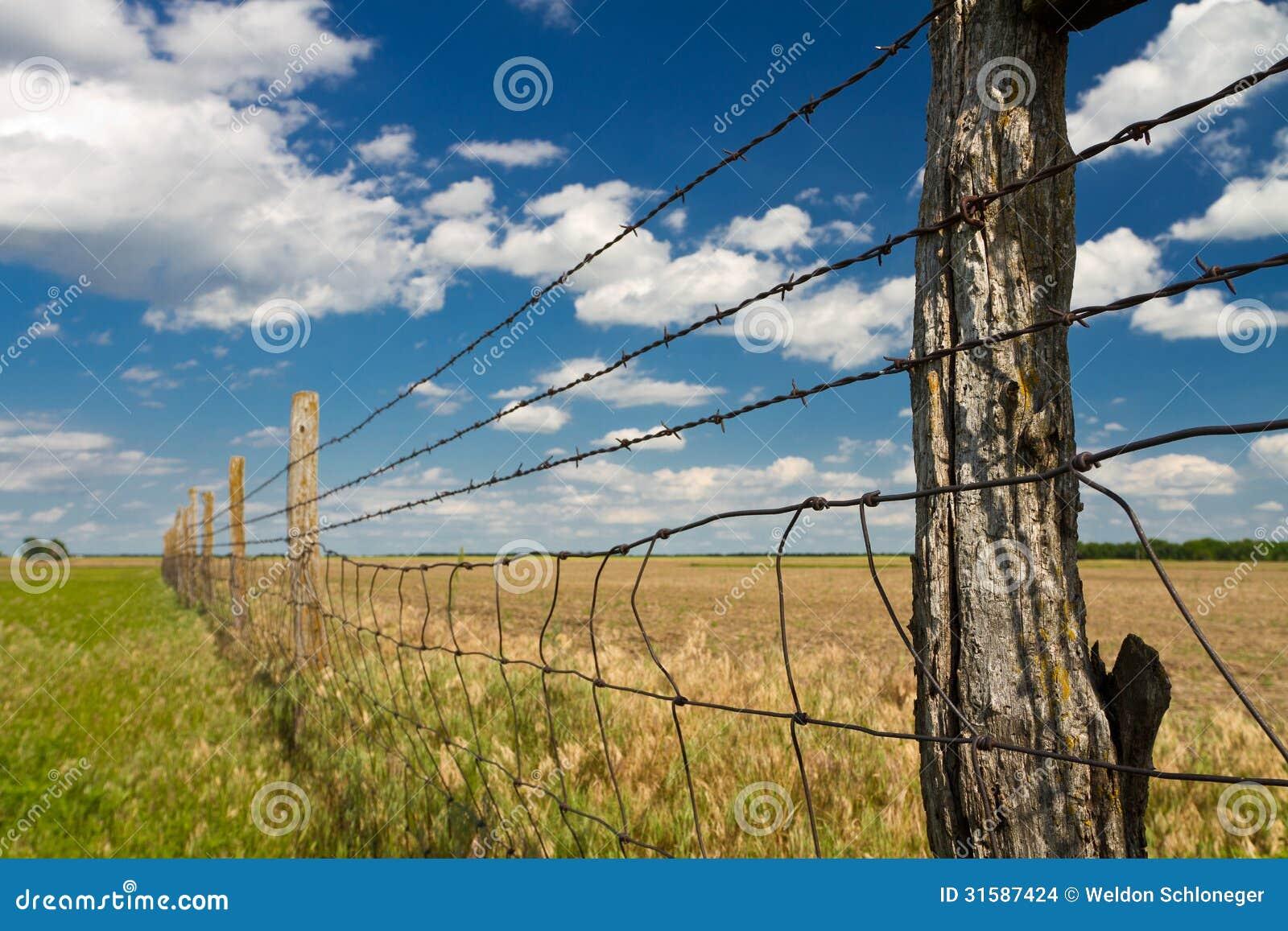 Kansas Pasture Fence, Blue Sky Stock Photo - Image of field, pasture ...