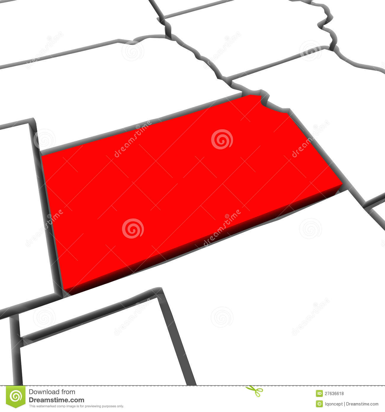 Kansas Red Abstract 3D State Map United States America Stock ...