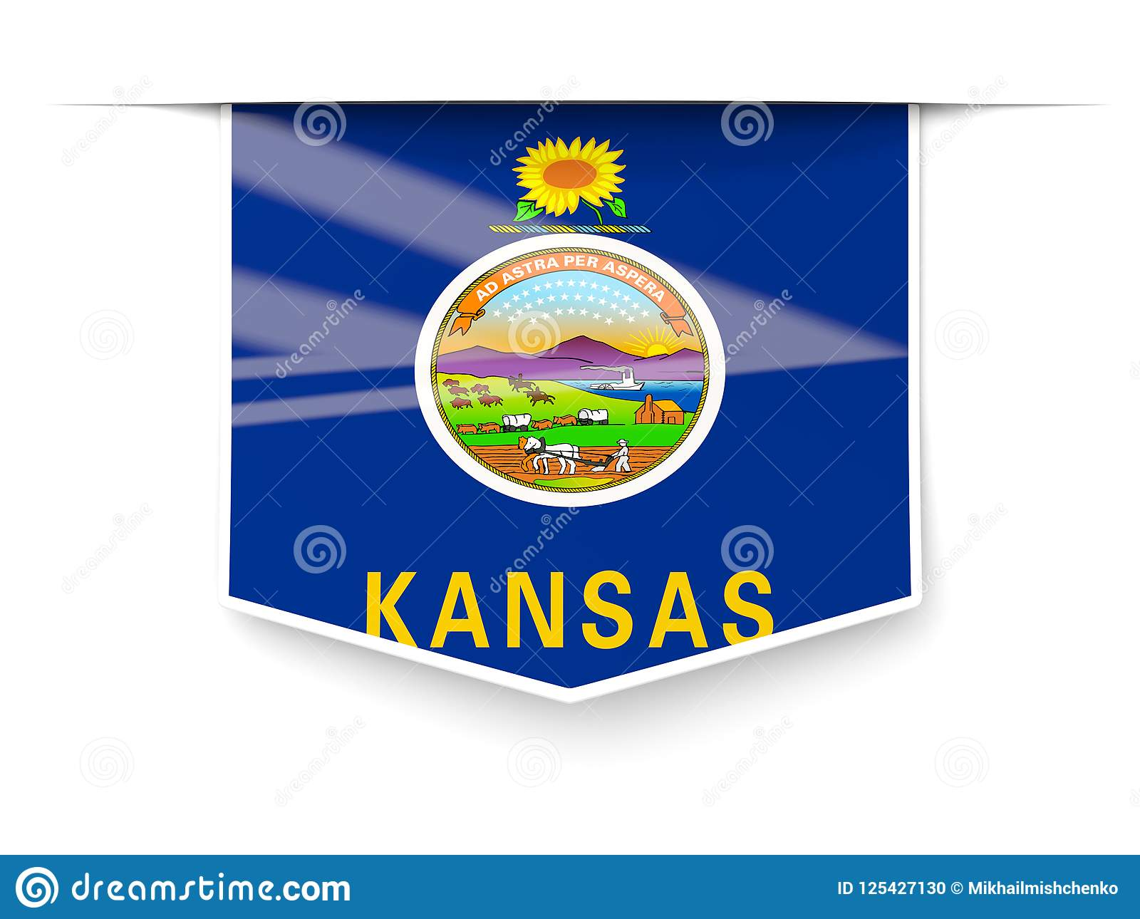 kansas state flag square label with shadow united states local
