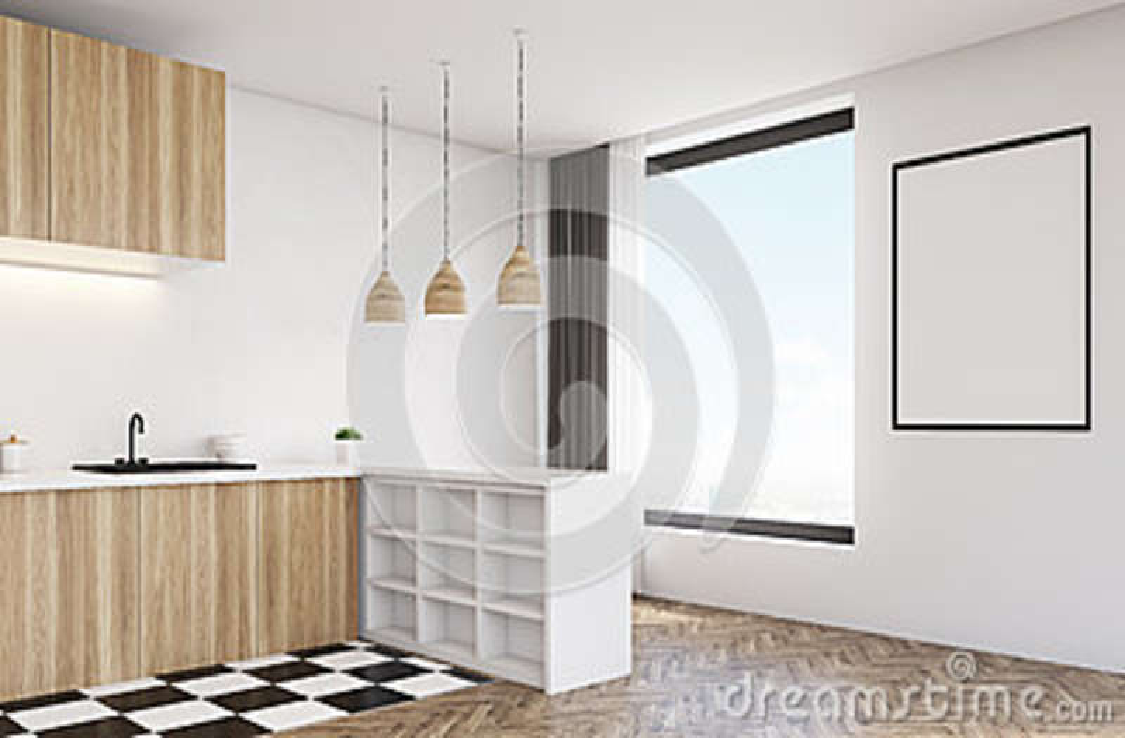 Moderne Keuken Lampen : Kant veiw van moderne keuken met houten lamp stock illustratie