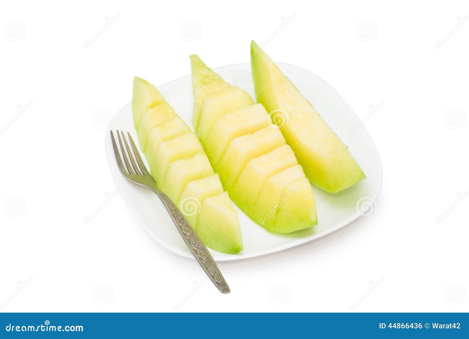 Kantalup melonowa owoc w naczyniu Odizolowywającym na białym tle