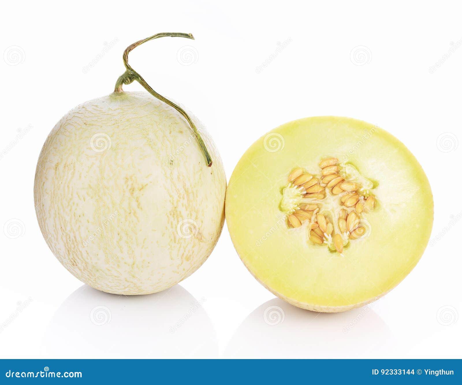 Kantalupenmelone auf weißem Hintergrund