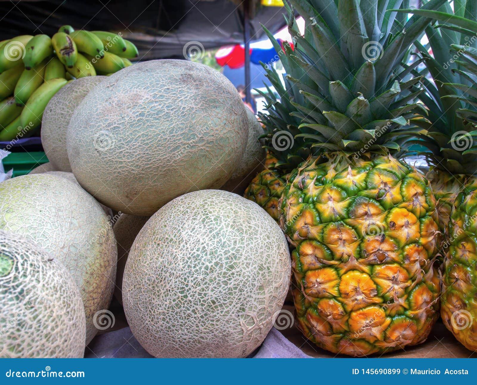 Kantalupy i ananasy na stojaku