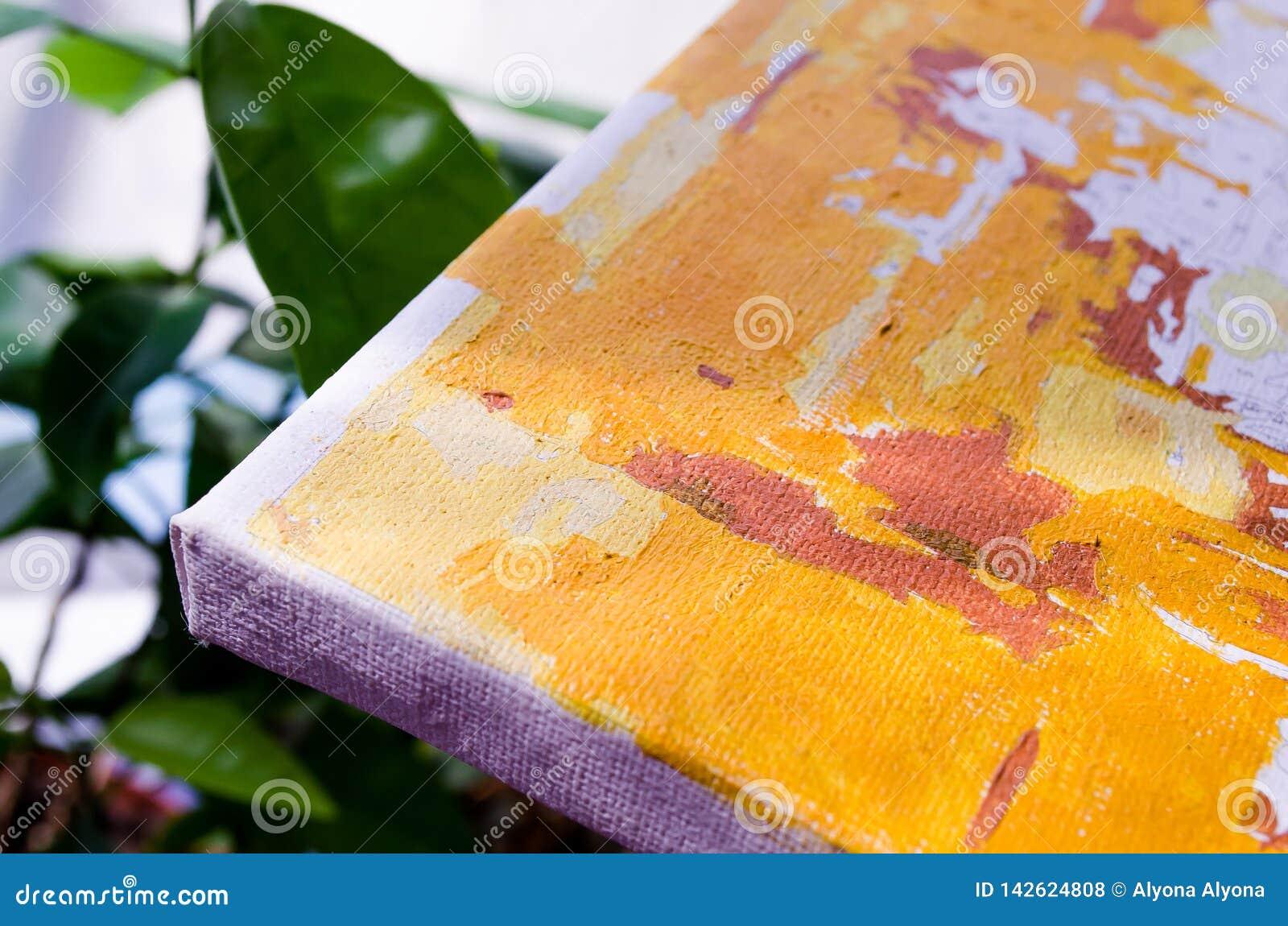 Kanwa greenfield Kanwa z pomarańcze wzorem na tle zieleń Obrazek dla artystów